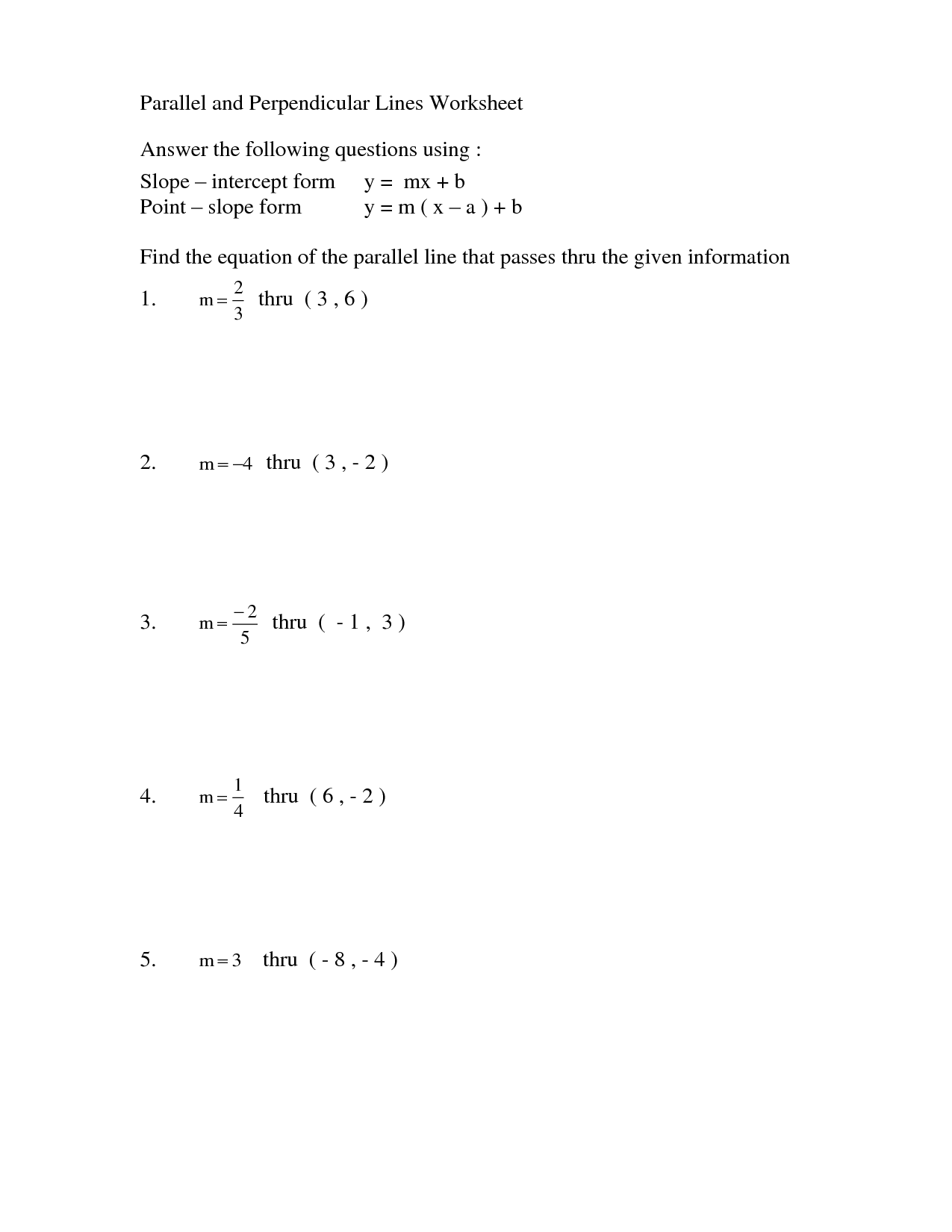 Equations Of Parallel And Perpendicular Lines Worksheet Gcse