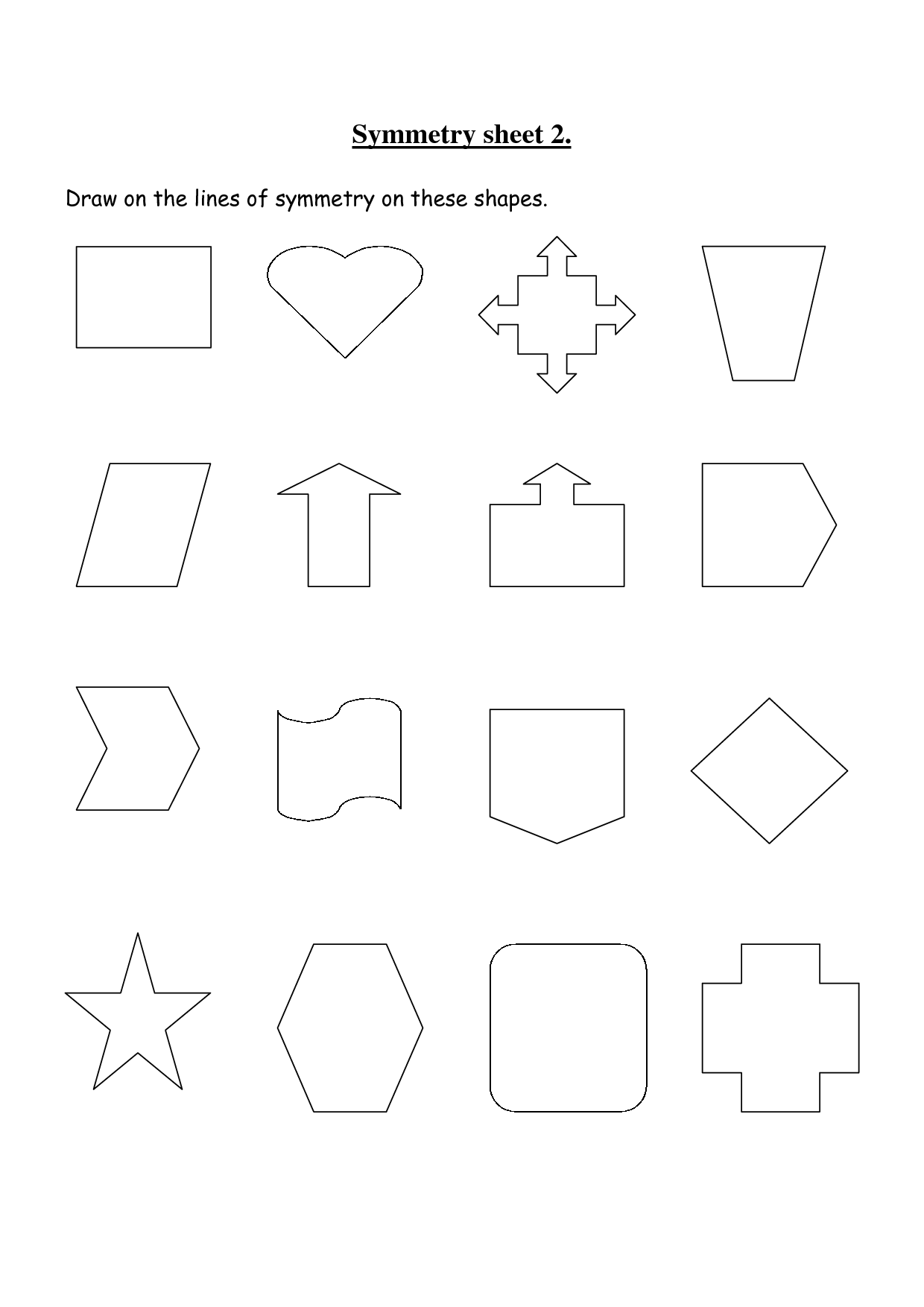 Non Symmetrical Shapes Worksheet