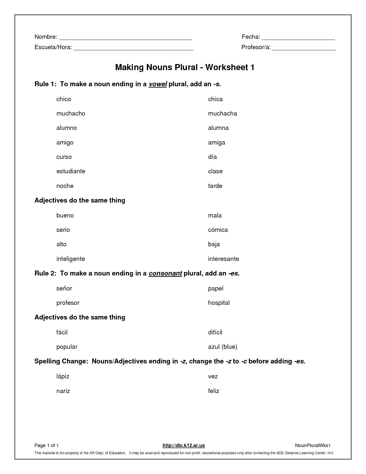 18 Best Images Of Singular Plural Worksheets Grade 3