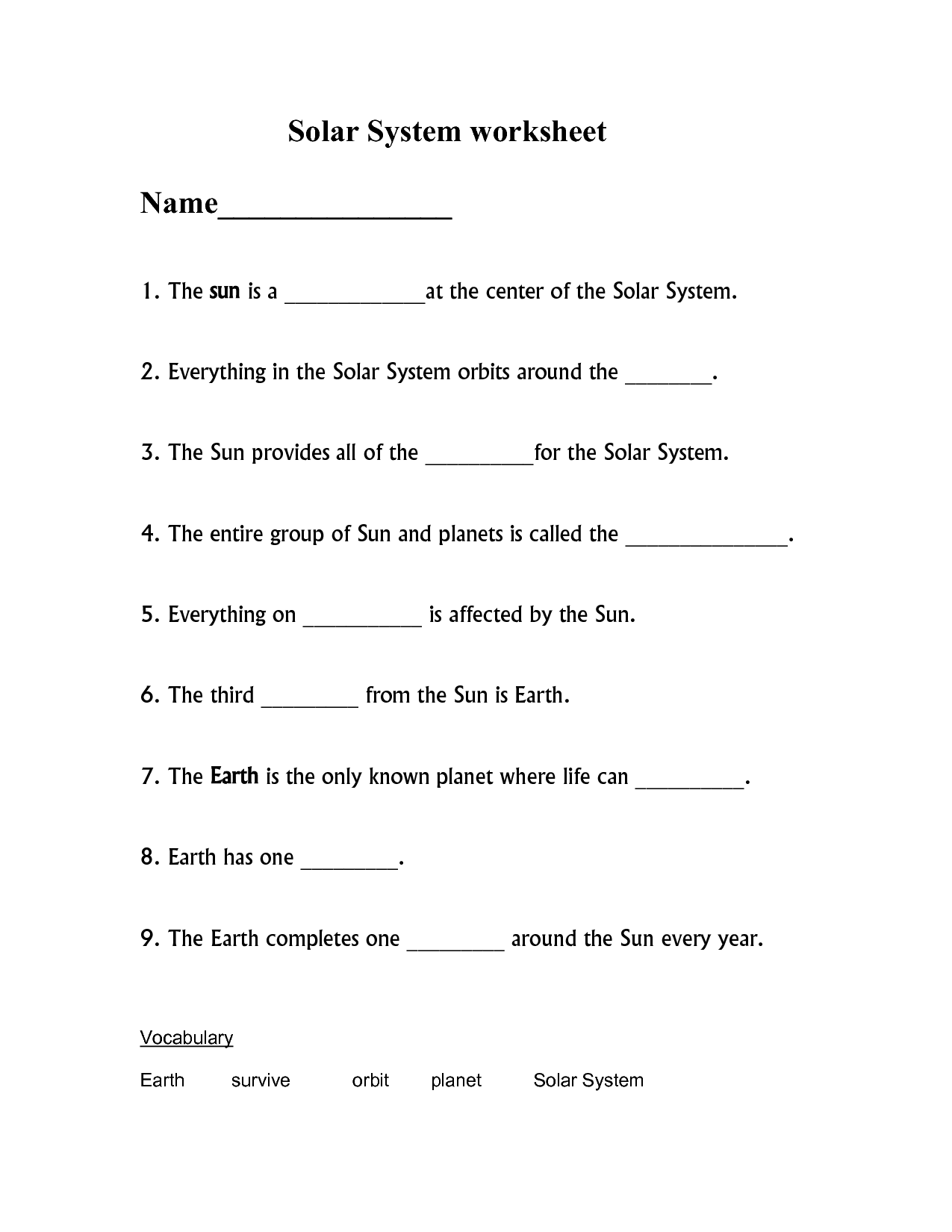 About Solar System Worksheet
