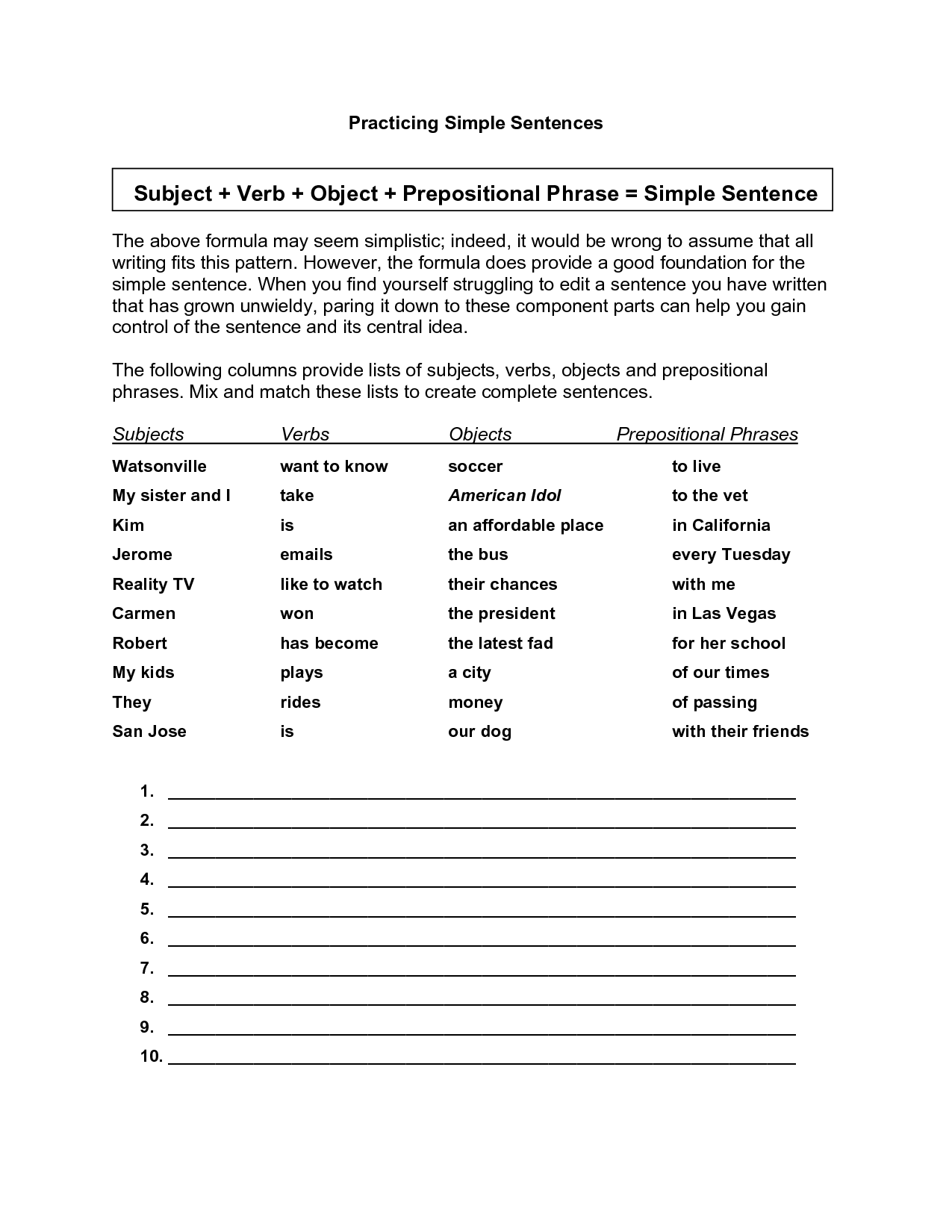 9 Best Images Of Subject Word Agreement Worksheet
