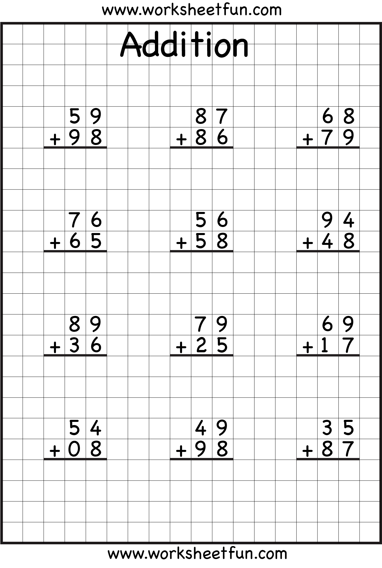 19 Best Images Of Two Digit Addition Worksheets No