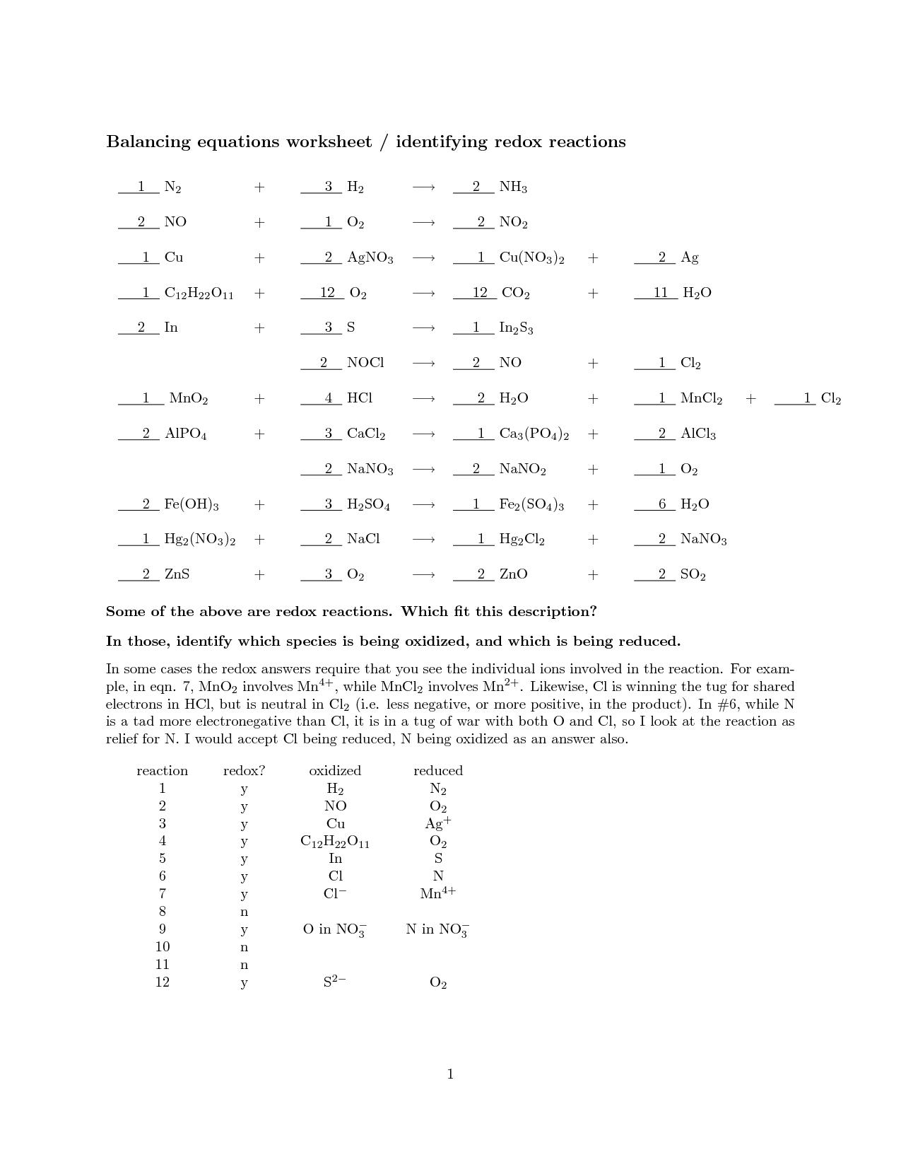 29 Balancing Chemical Equations Worksheet Answer Key