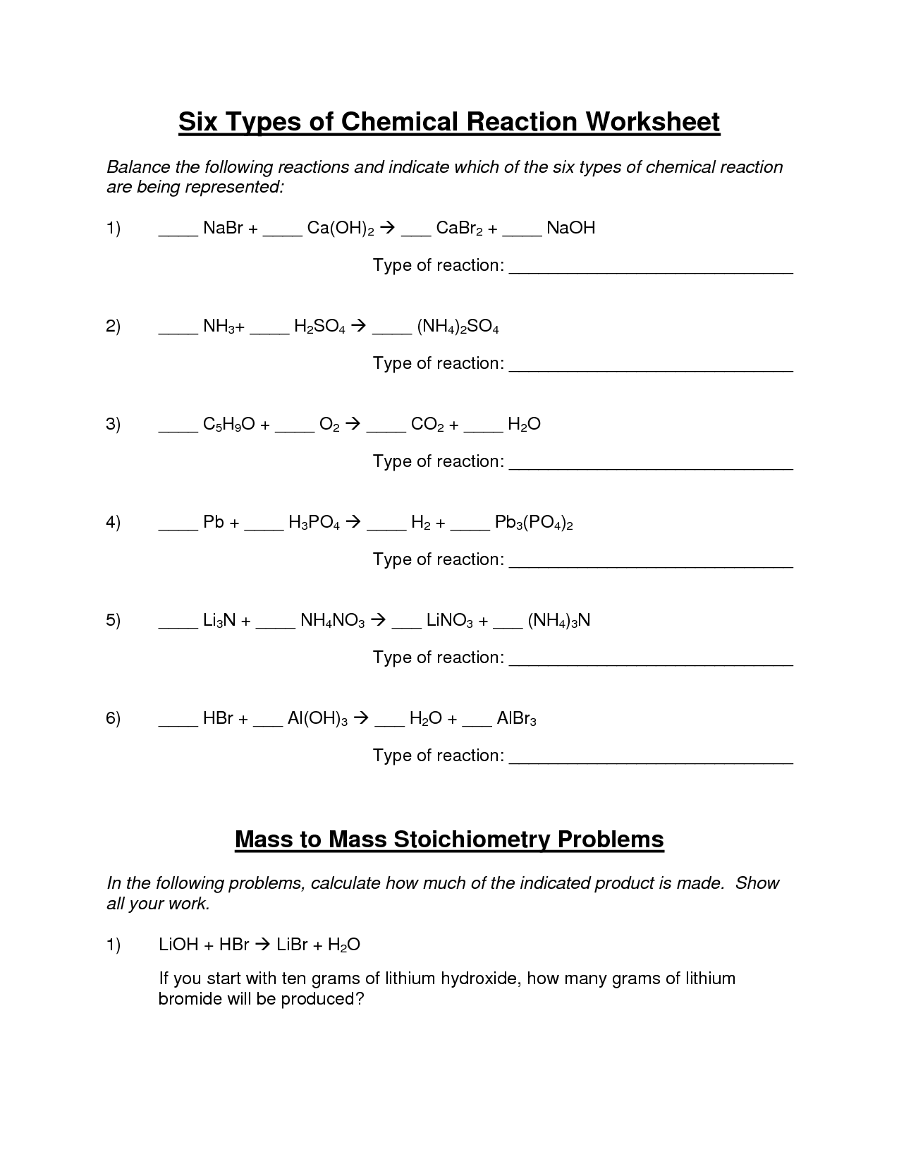 Worksheet On Types Of Reactions