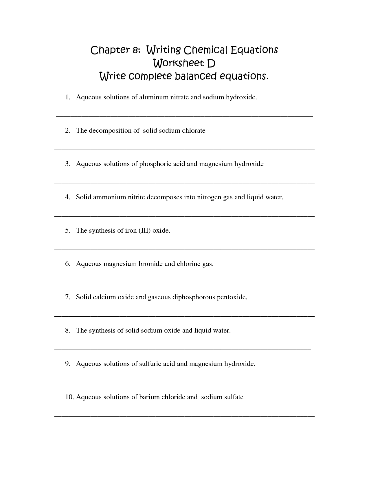 Writing Balanced Equations Worksheet