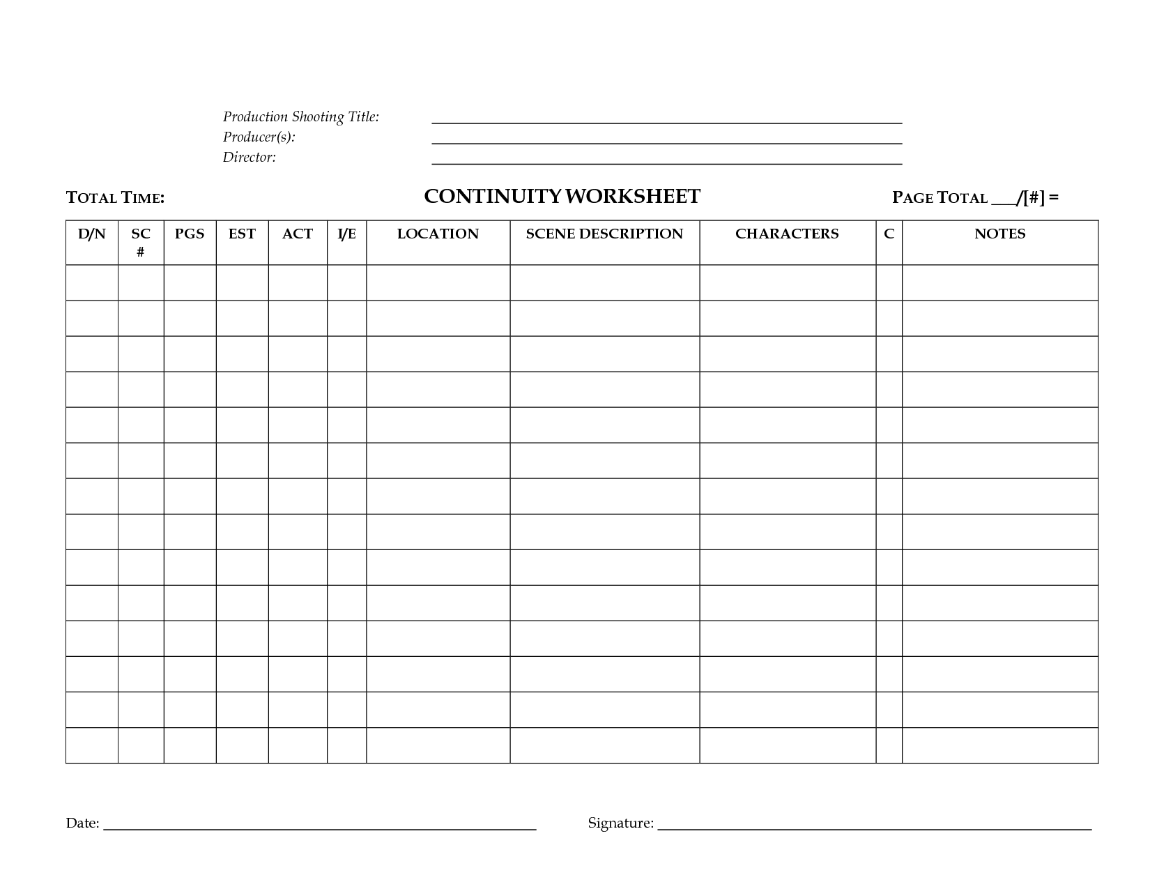 Production Worksheet Template