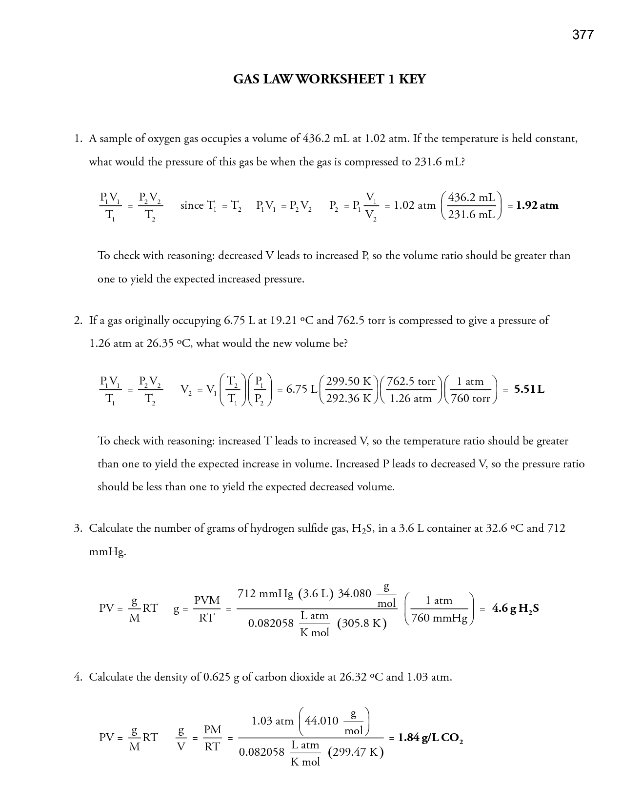 13 Best Images Of Combined Gas Law Worksheet Answers