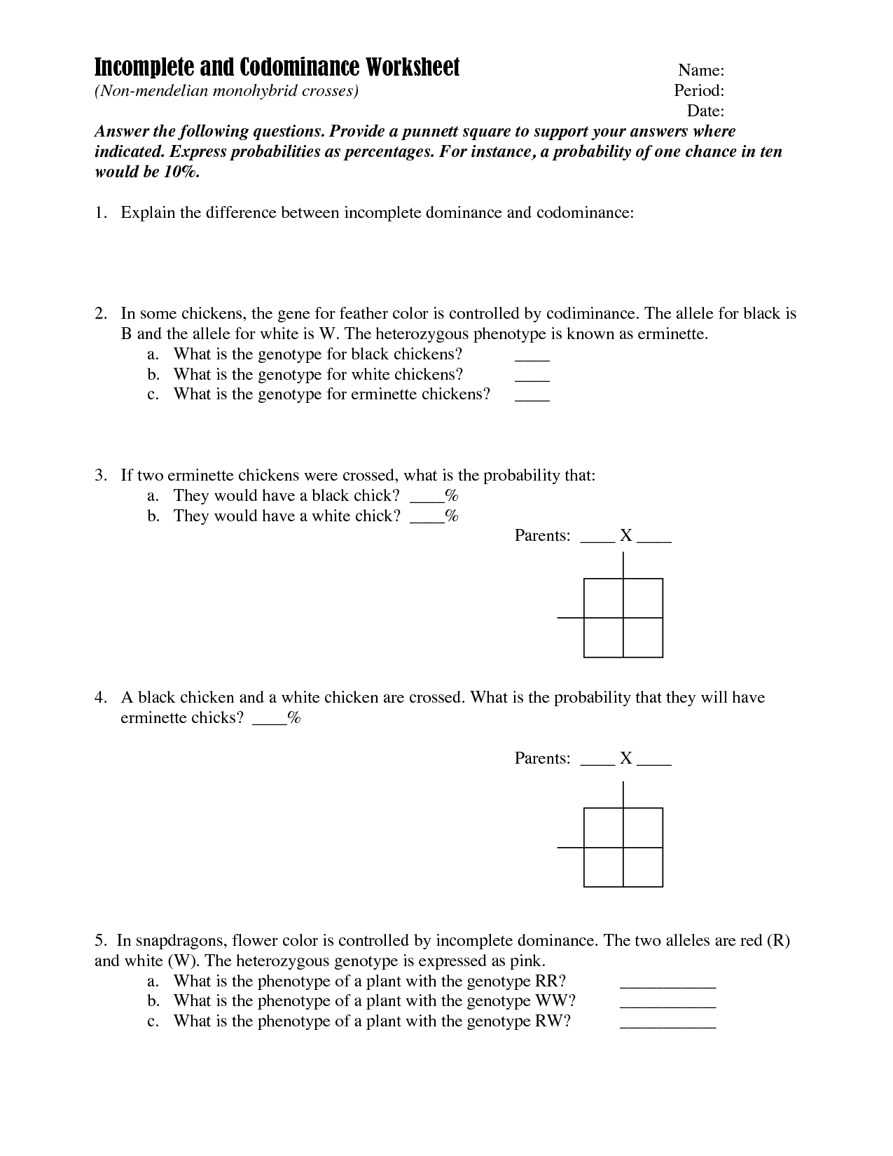 Punnett Square Worksheet With Answer Key