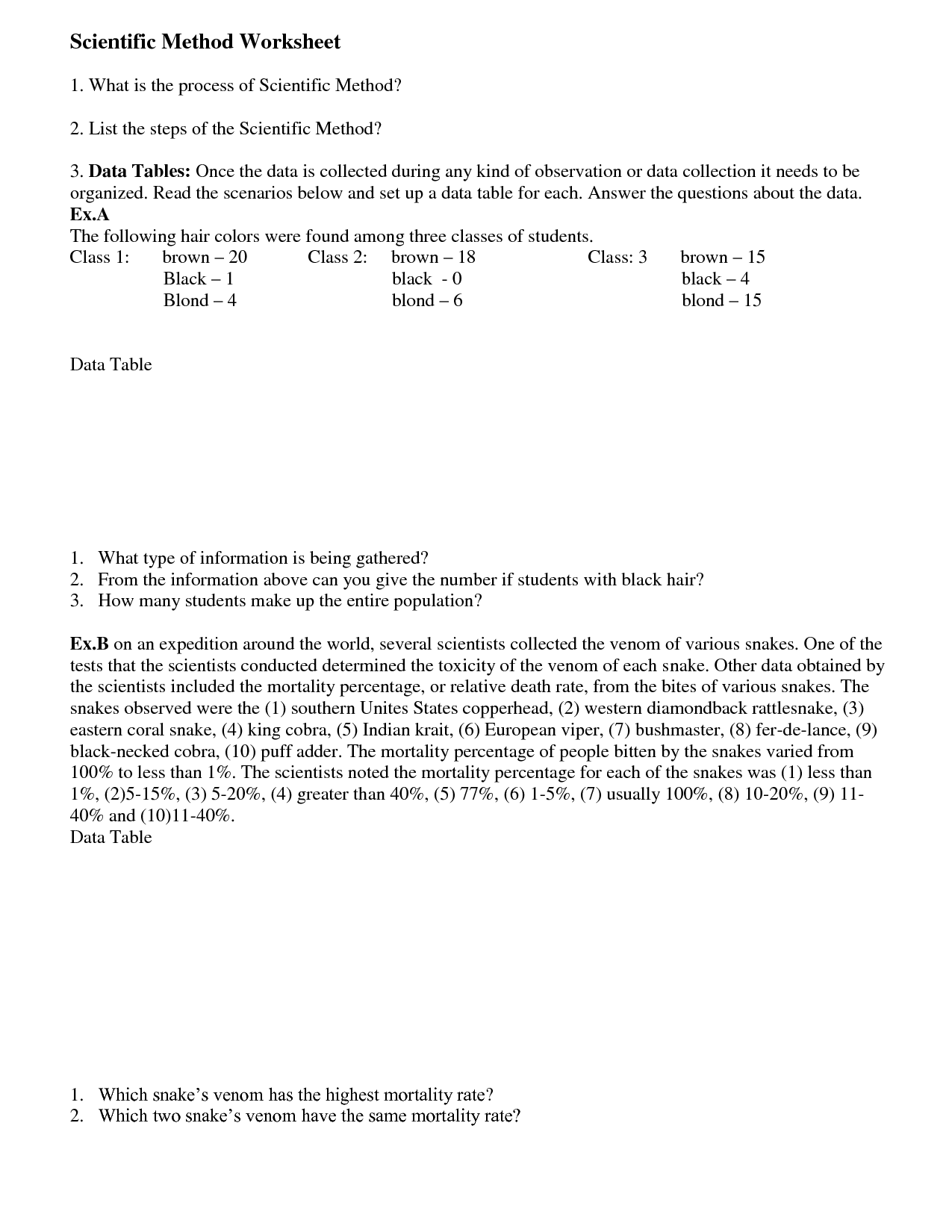 Scientific Method Scenarios Worksheet