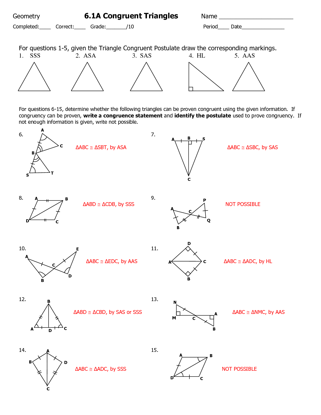 Congruent Triangles Worksheet With Answers Geometry