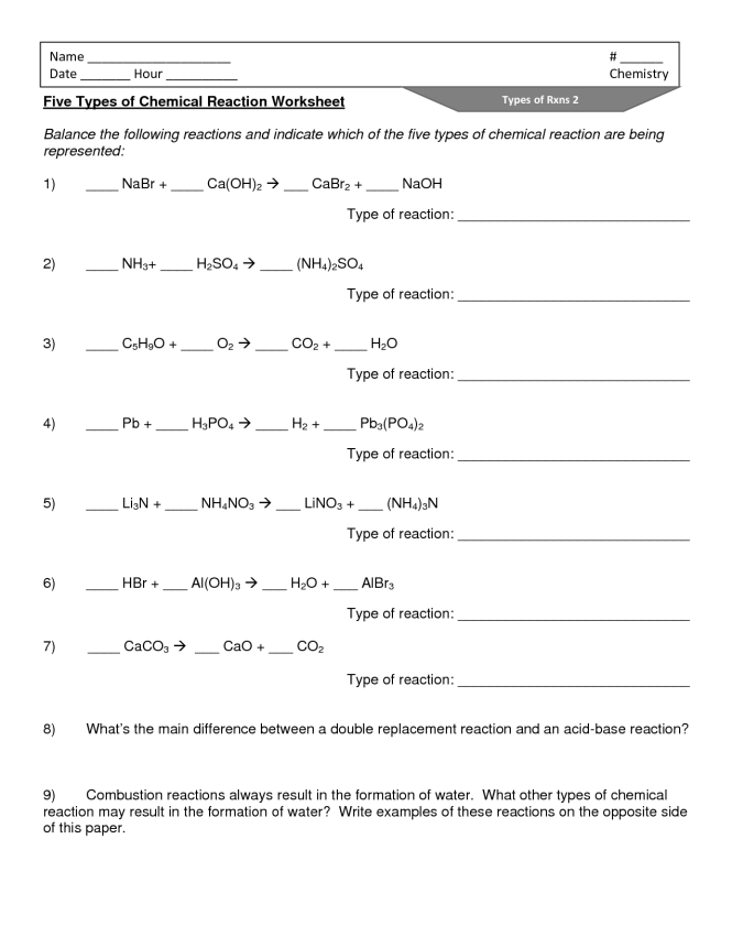 Classifying Chemical Reactions Worksheet Answer Key Best Key In