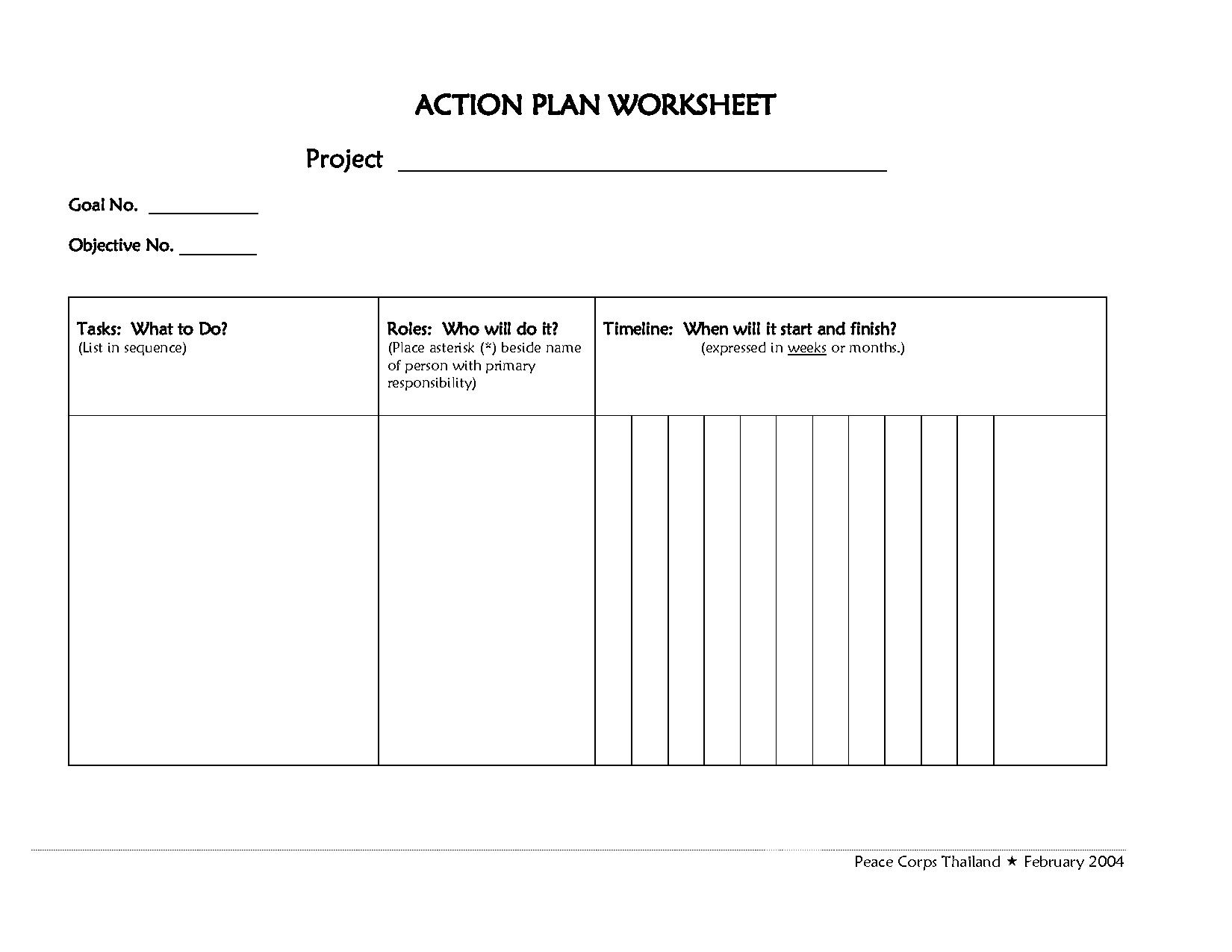 20 Best Images Of Action Plan Worksheet For Goals
