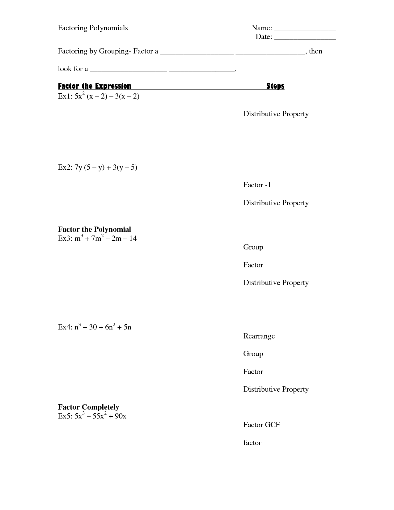 14 Best Images Of Factoring Gcf Worksheet Printable