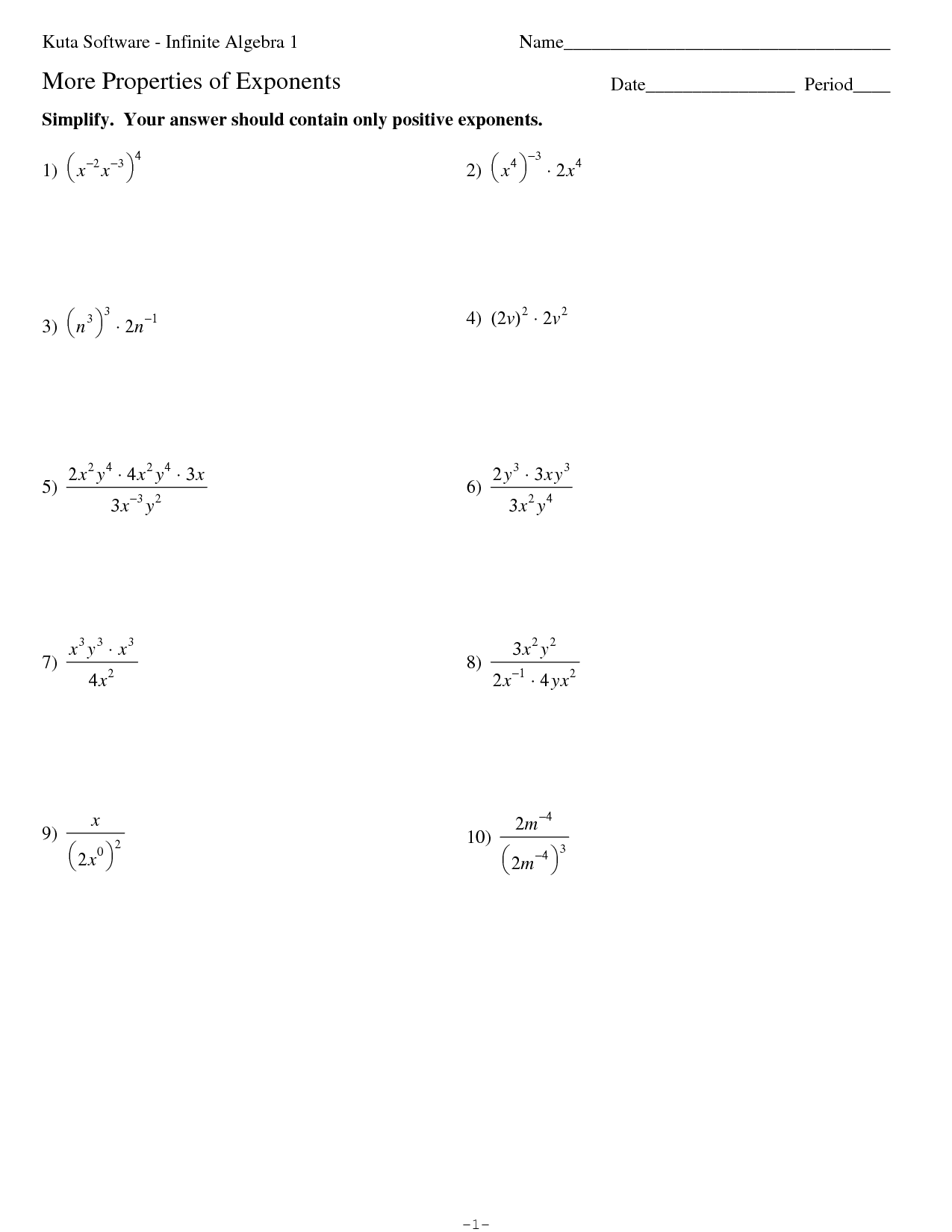 Worksheet Properties Of Exponents Worksheet Algebra 2