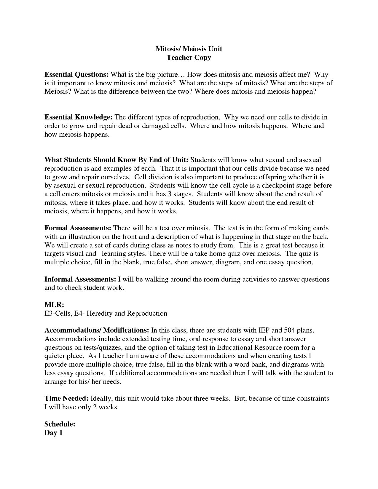 Meiosis Worksheet For Middle School
