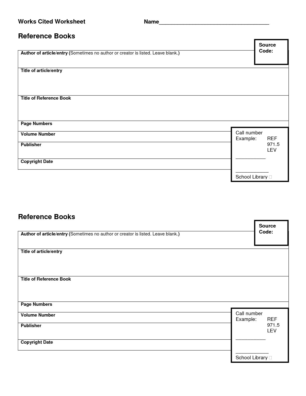 Mla Worksheet Practice Works Cited Page