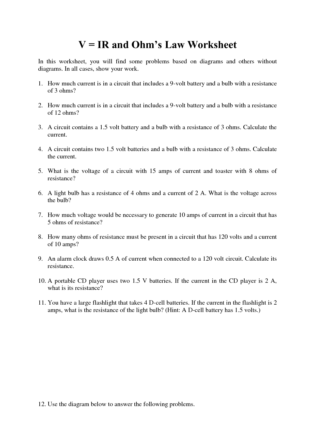 14 Best Images Of Ohms Law Practice Worksheet