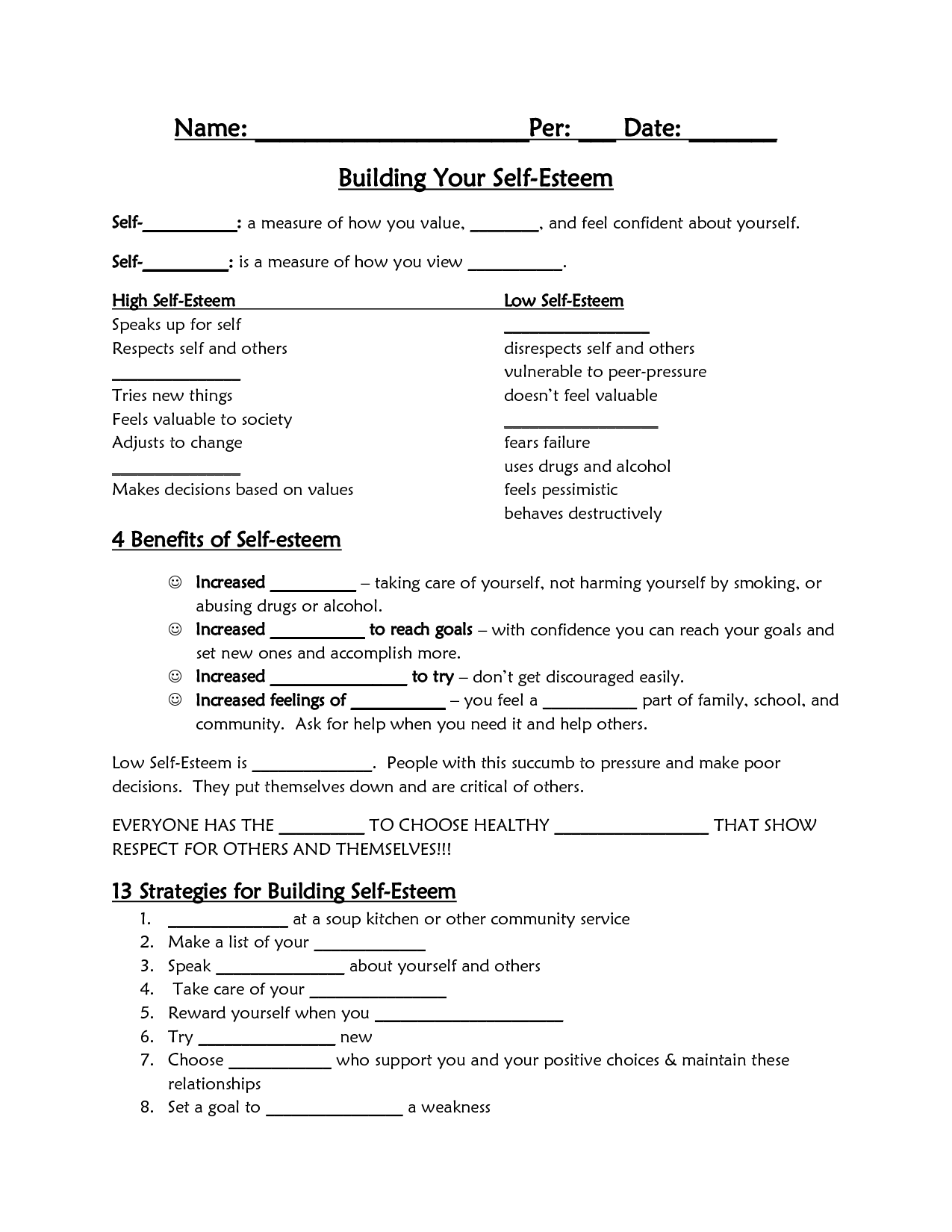 16 Best Images Of Self Love Worksheets