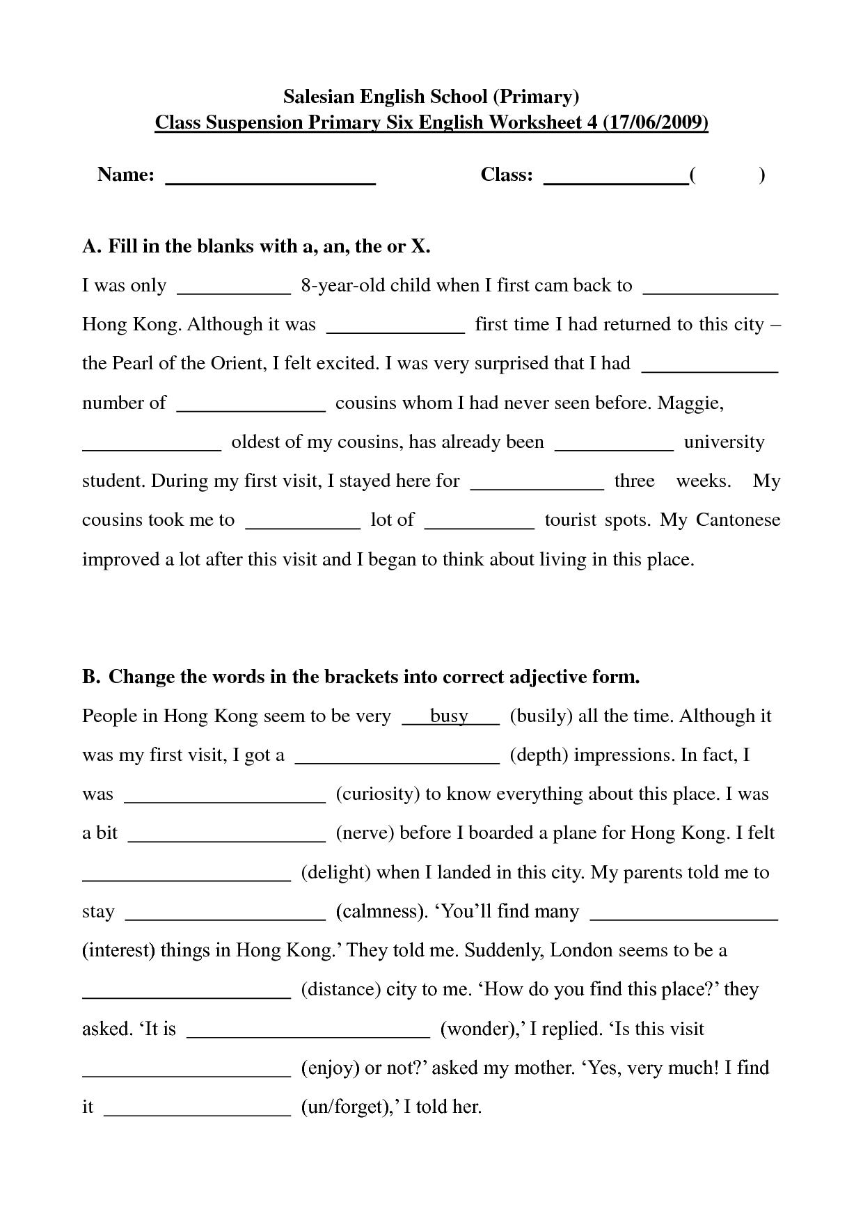 13 Best Images Of Primary School Worksheets