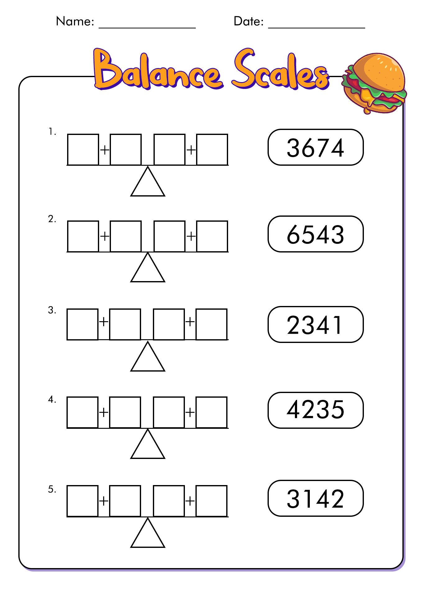 Scale Balance Worksheet Template