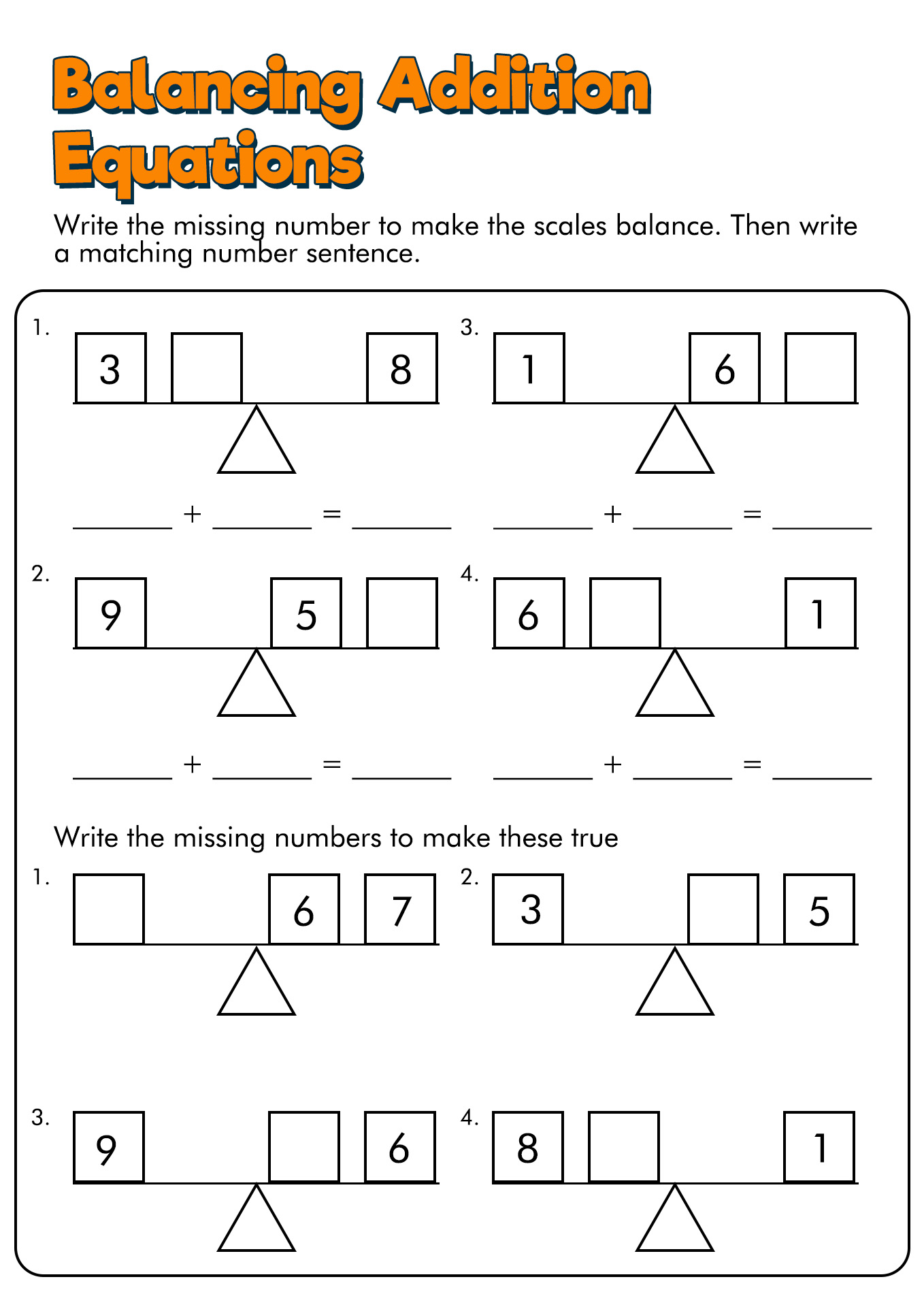 Balancing Math Equations Worksheet
