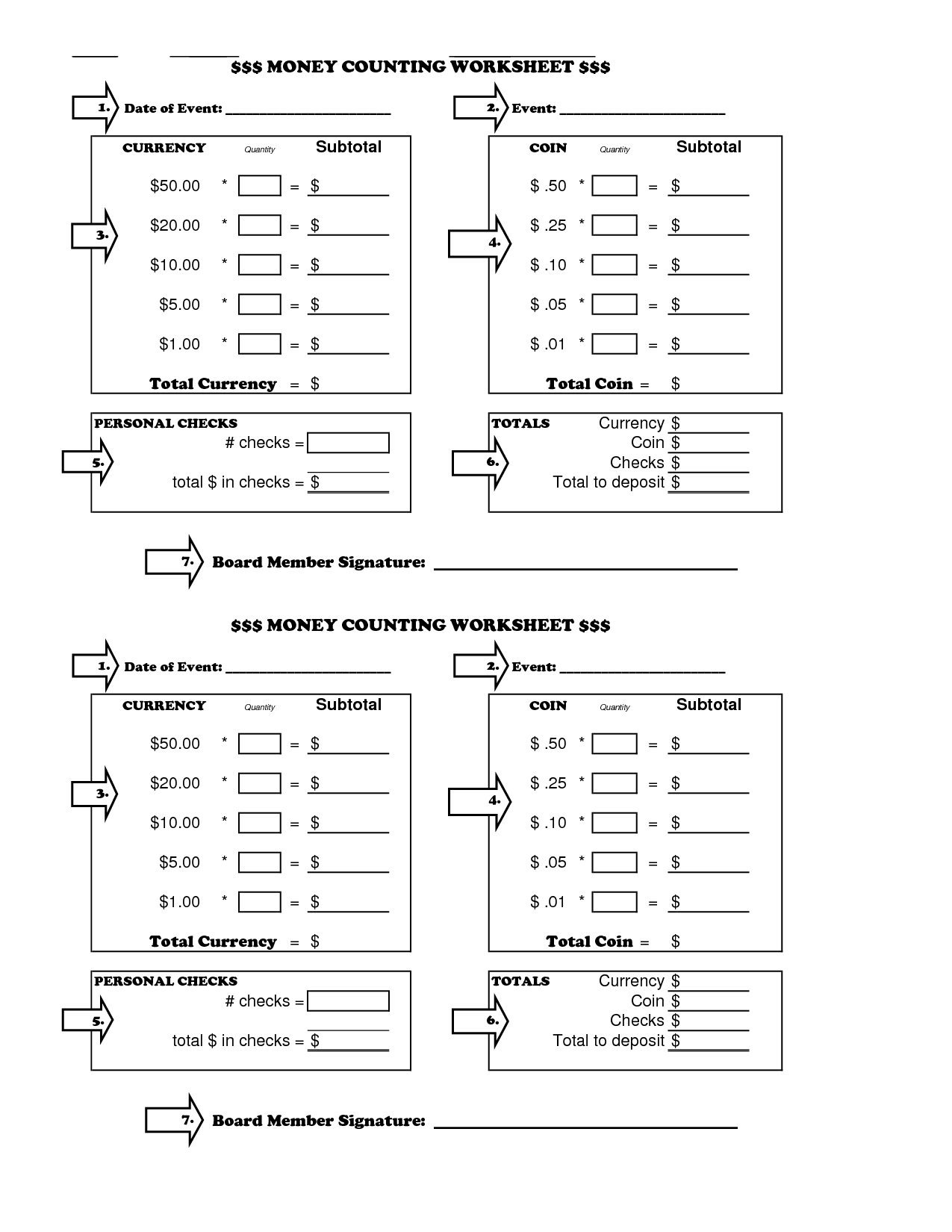 Cash Drawer Worksheets Printable