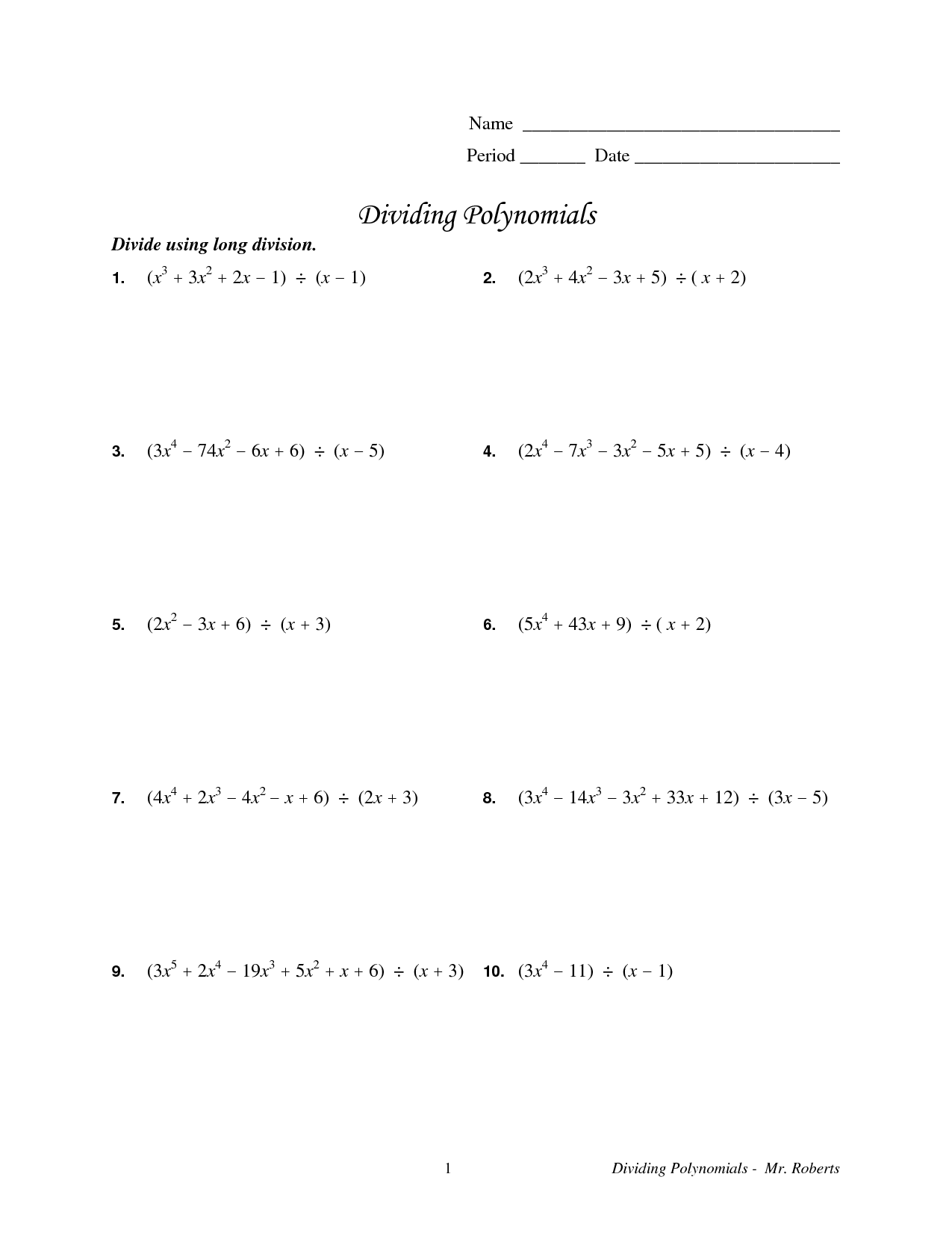 8 Best Images Of Polynomial Long Division Worksheet 6th