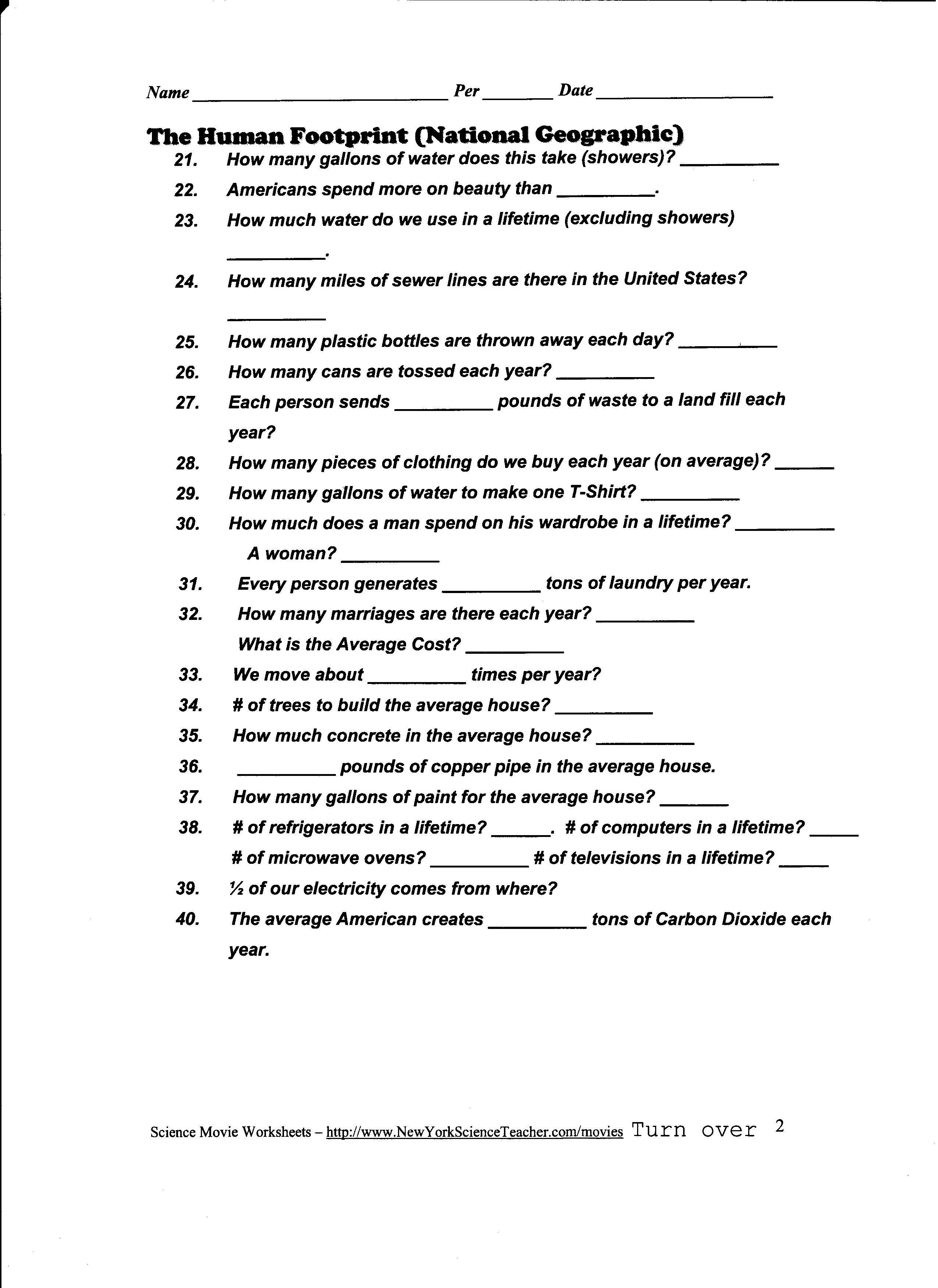 Ocean Chemistry Worksheet