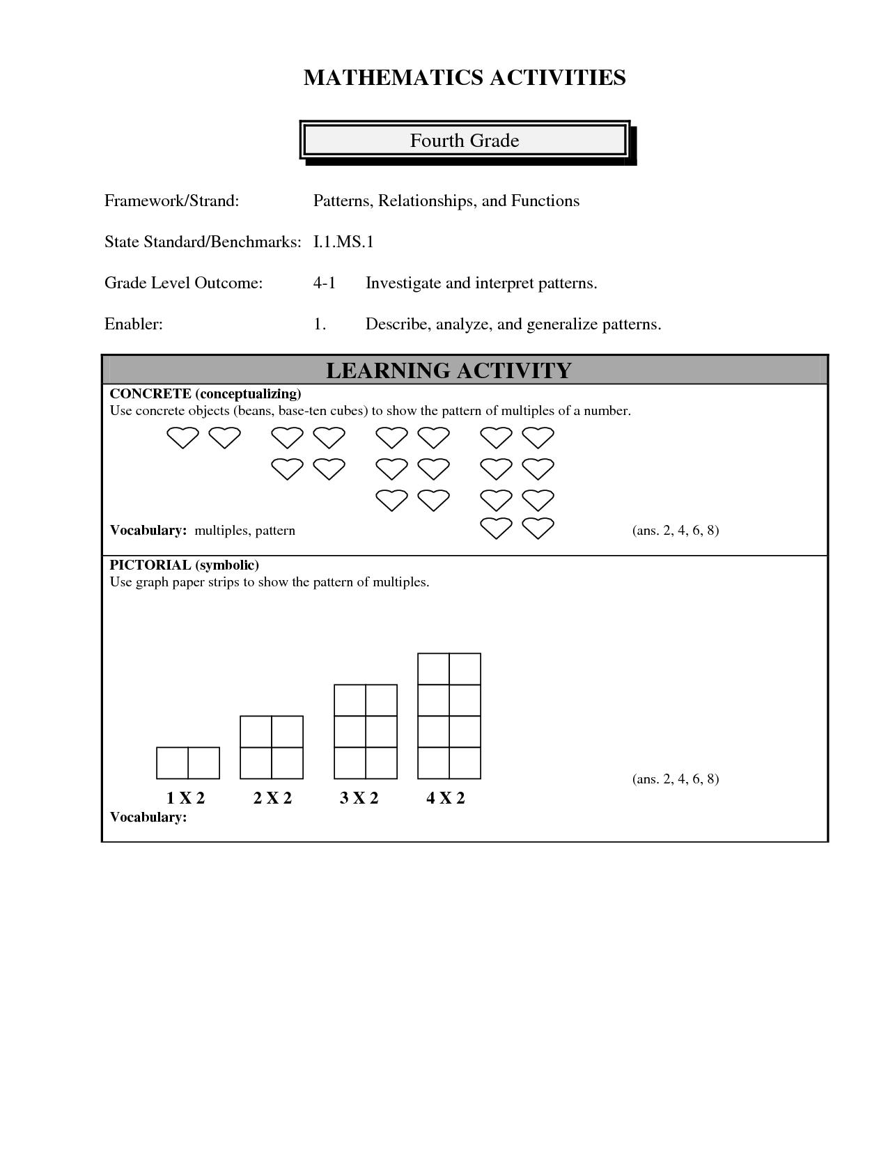 Pattern Rule Worksheet Grade 5