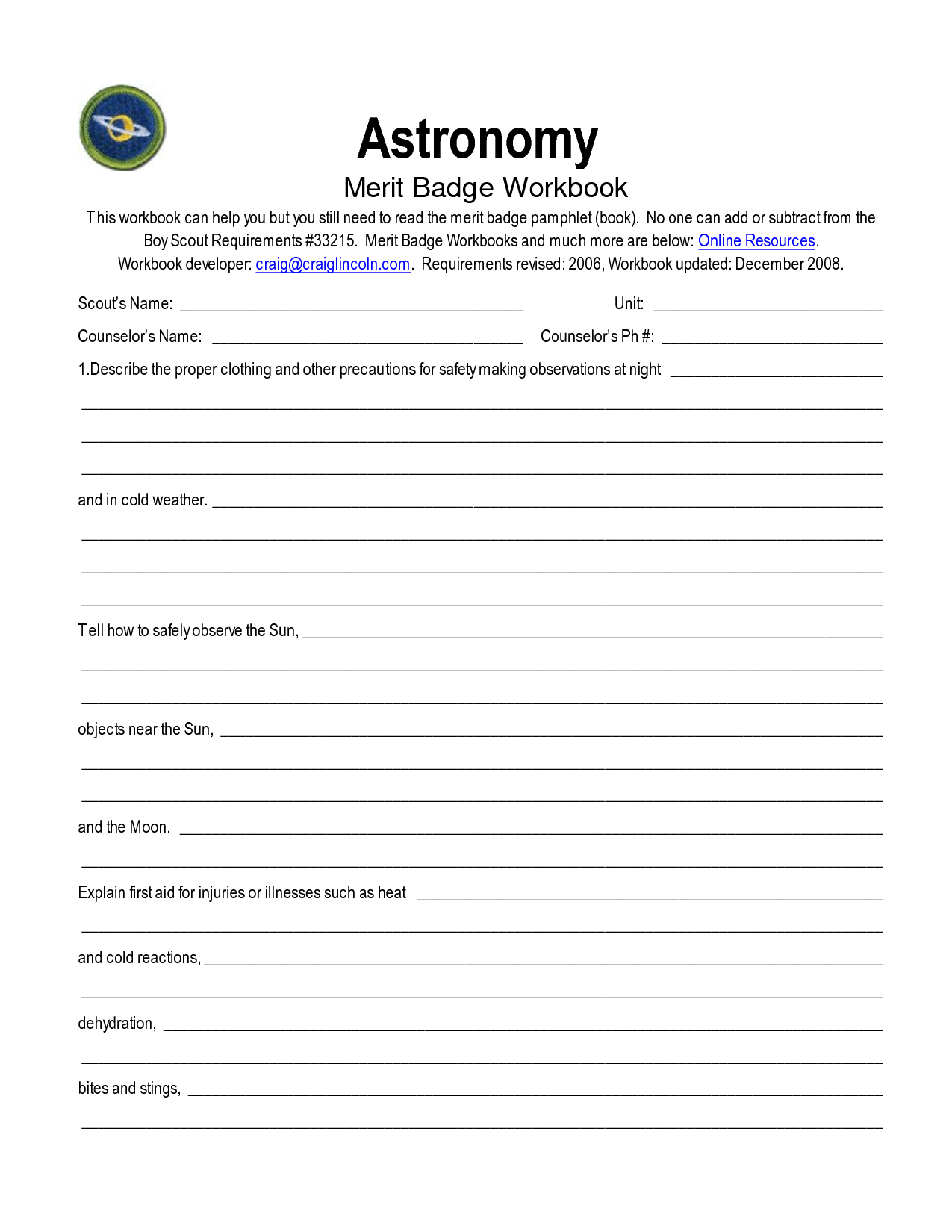 Coin Collecting Merit Badge Worksheet