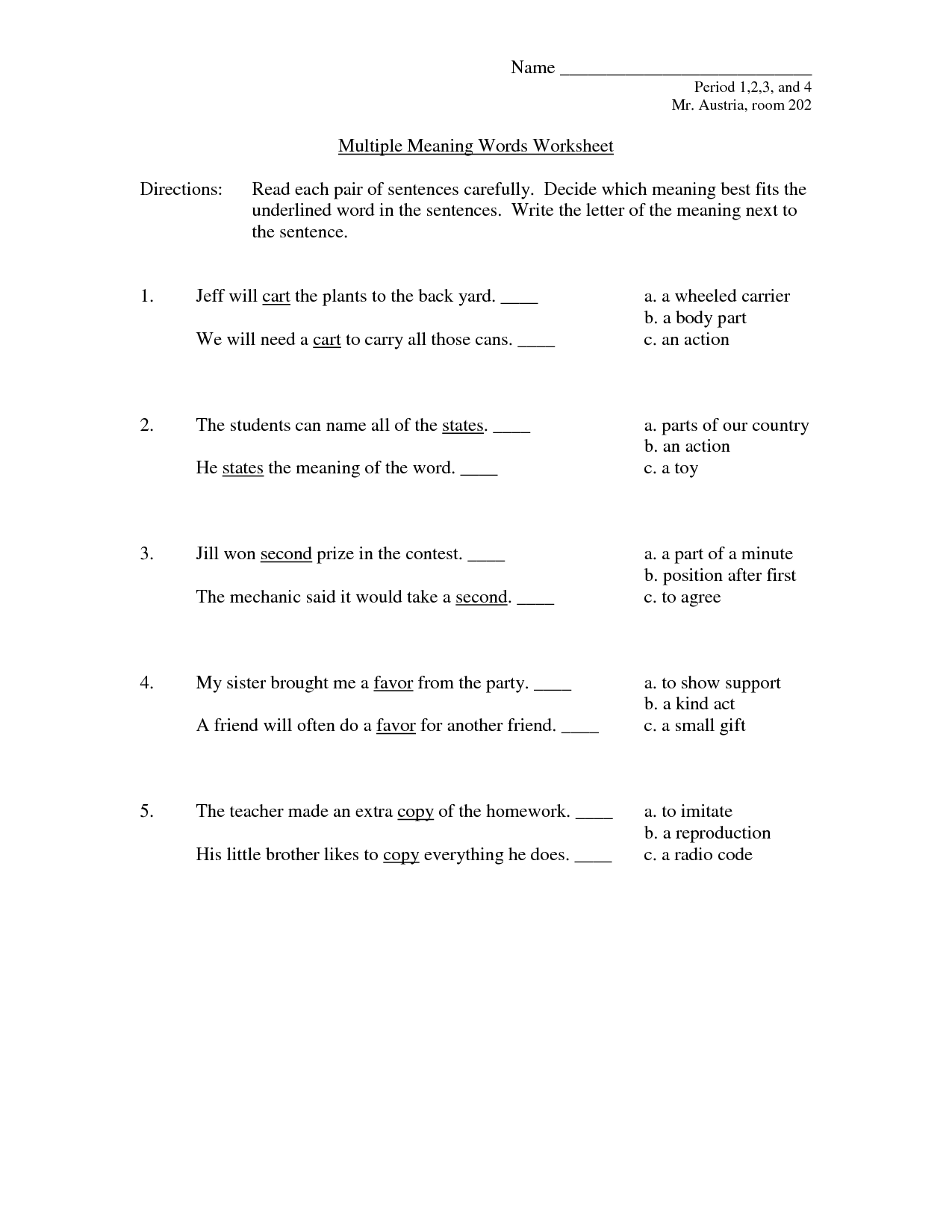 14 Best Images Of Multiple Meaning Worksheets 5th Grade