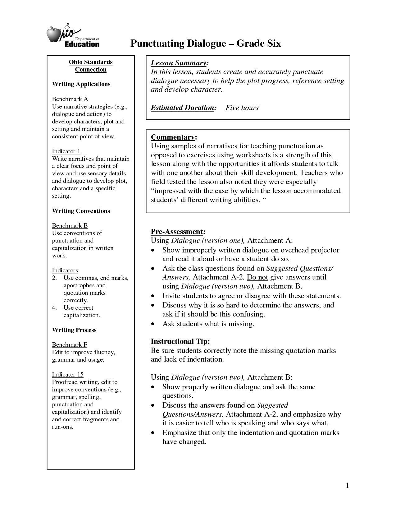 Dialogue Writing Worksheet