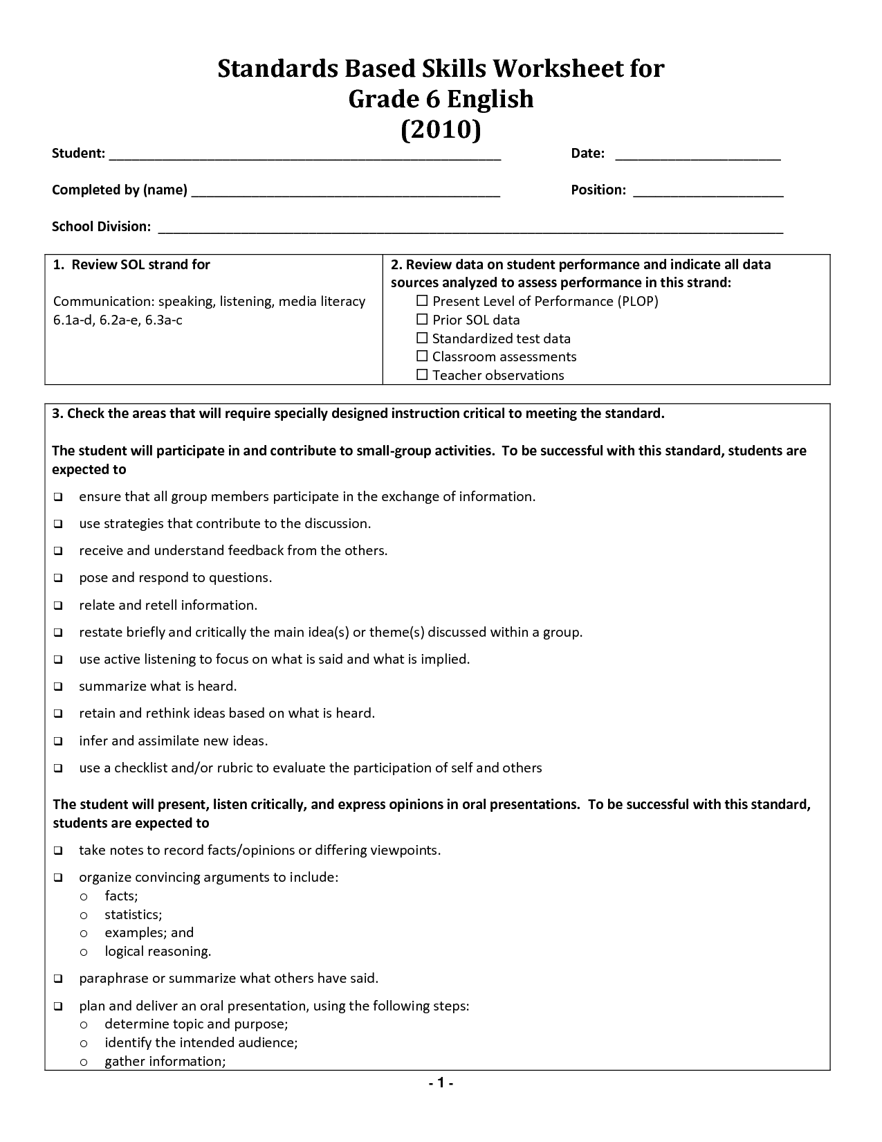 Translations Worksheet Grade 6