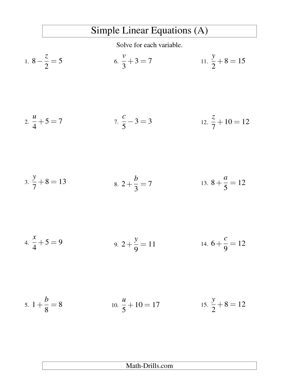 14 Best Images Of Algebra 1 Solving Equations Worksheets
