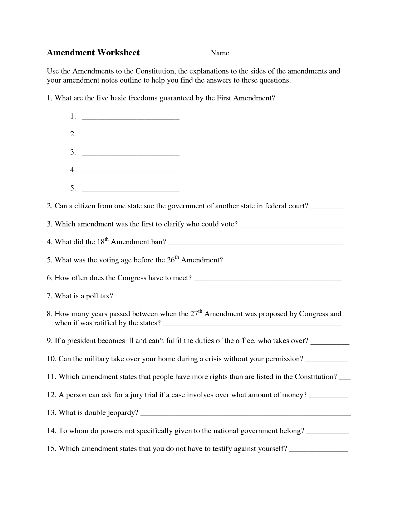 10 Best Images Of Outlining The Constitution Worksheet Answers