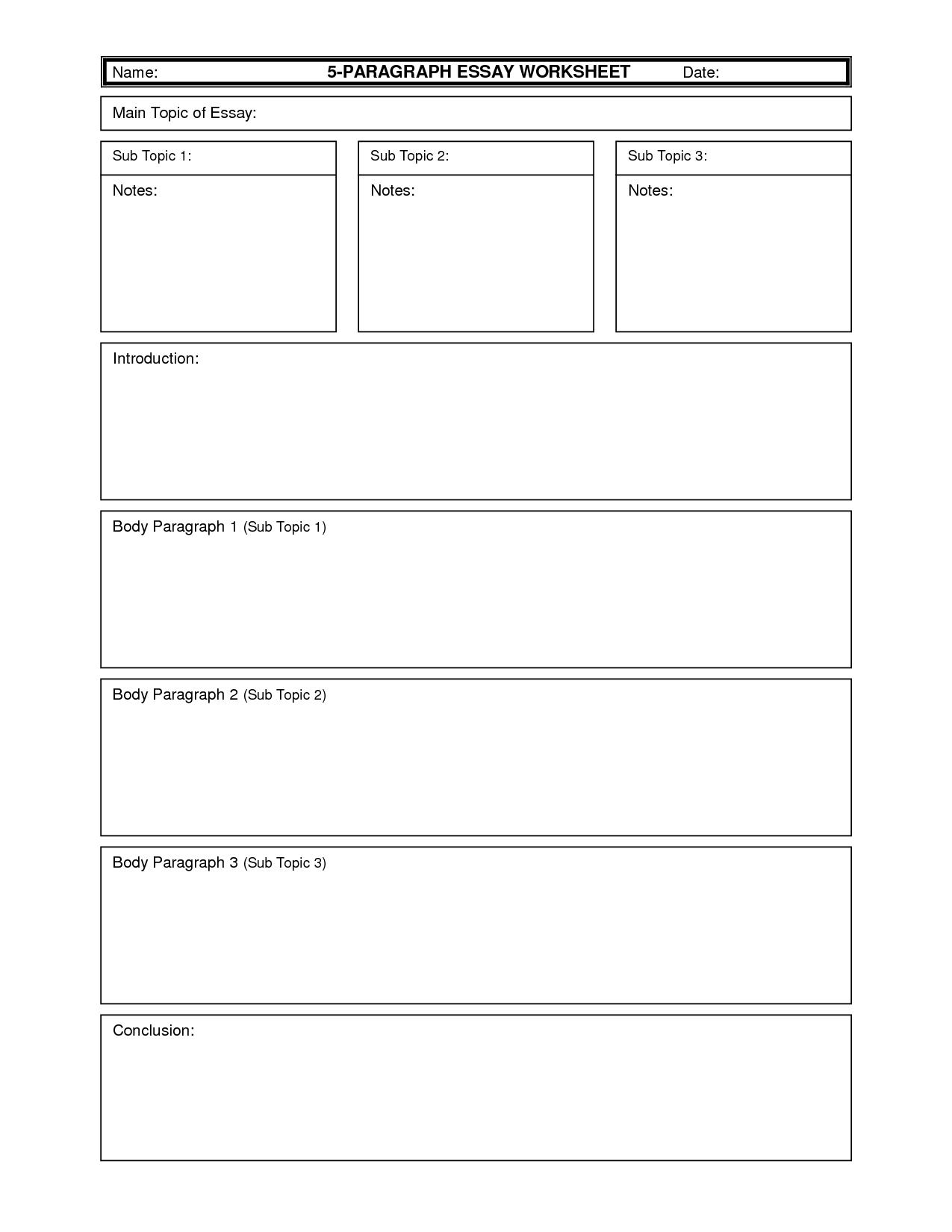 5 Paragraph Essay Outline 3rd Grade