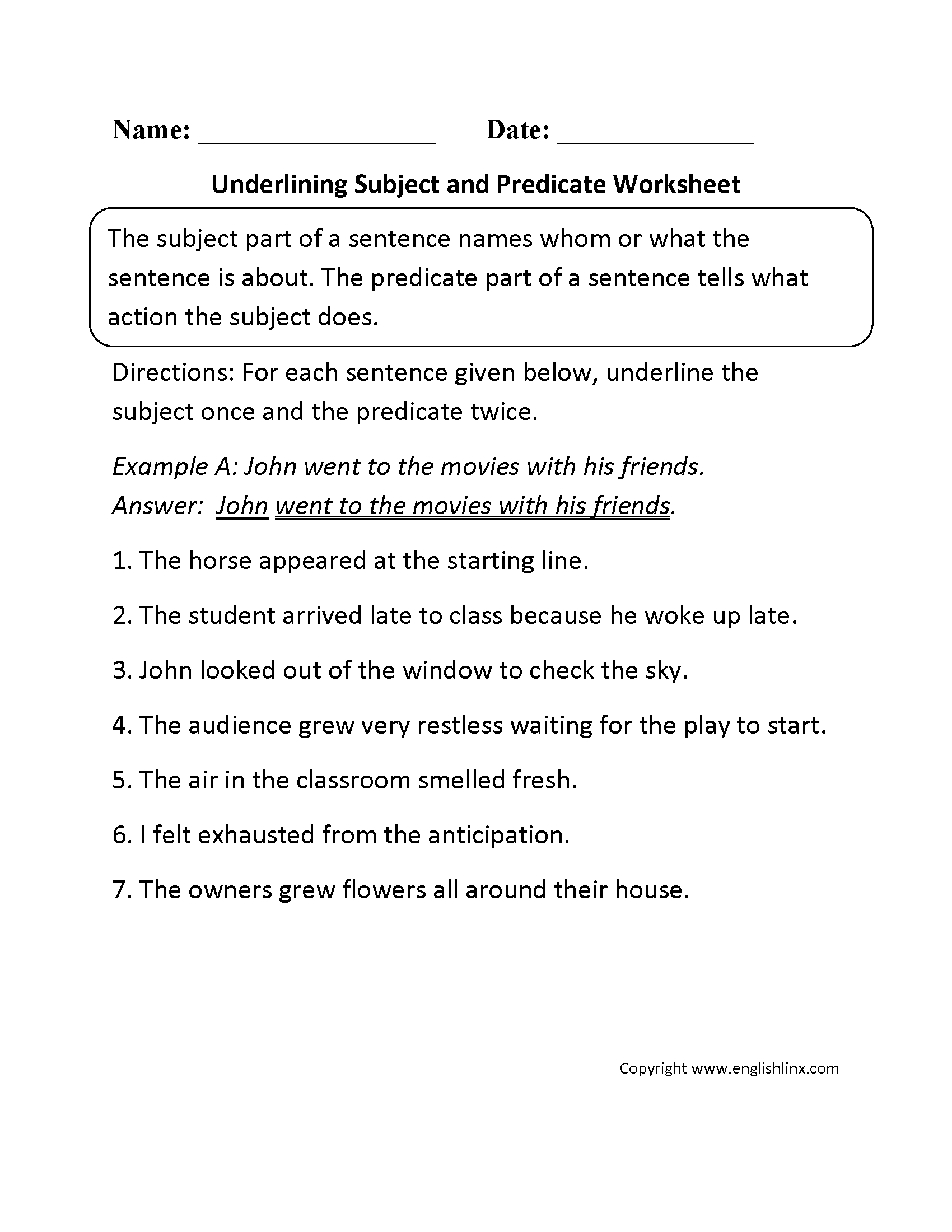 17 Best Images Of Subjects And Predicates Worksheets 6th