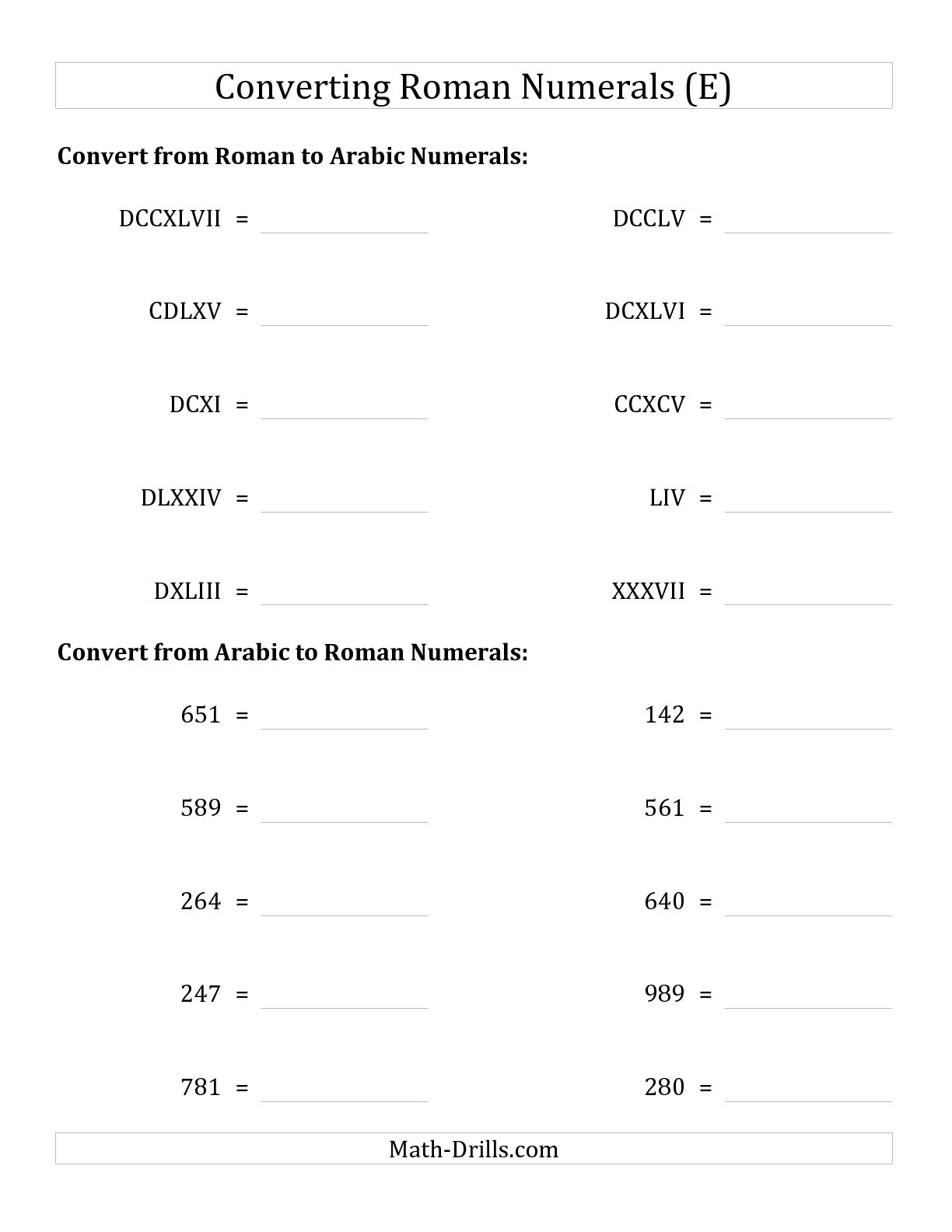 9 Best Images Of Roman Numeral Math Worksheets