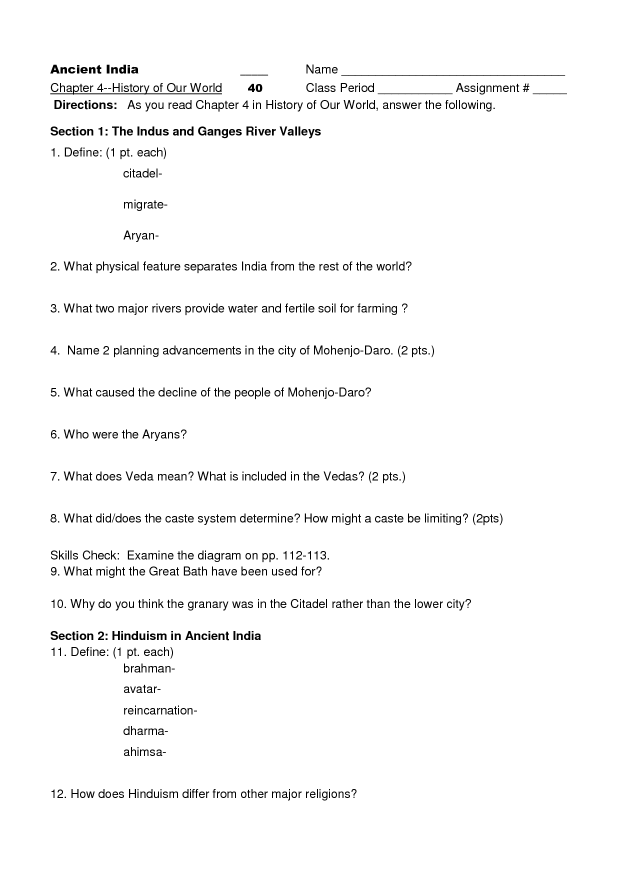 5 Best Images Of Ancient China Worksheets 6th Grade