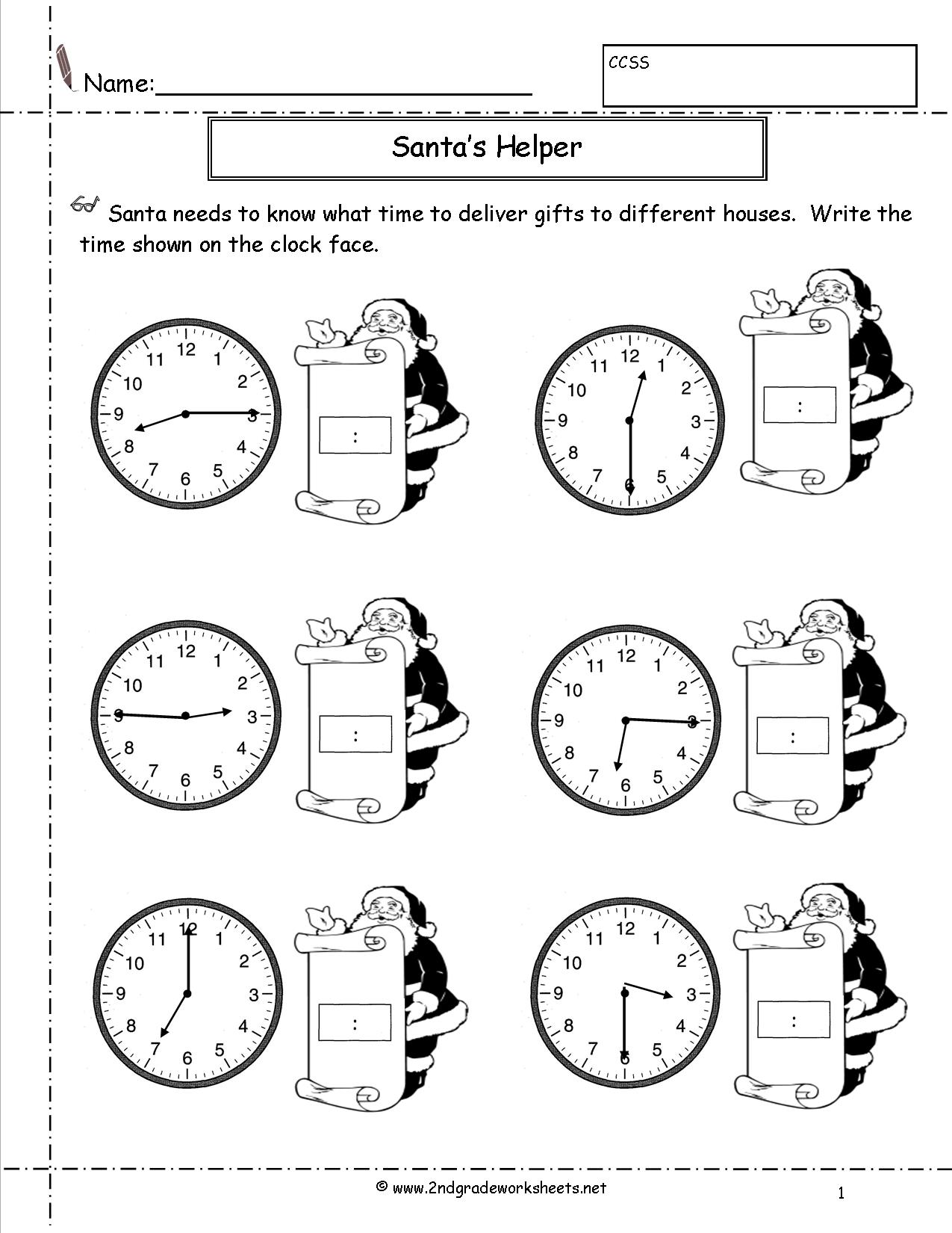 13 Best Images Of Clock Worksheets Grade 2