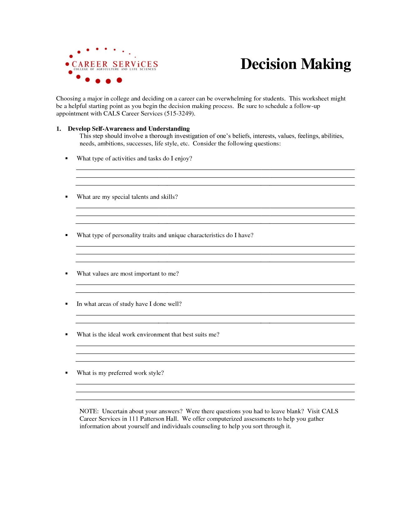 Making Choices Worksheets For Adults