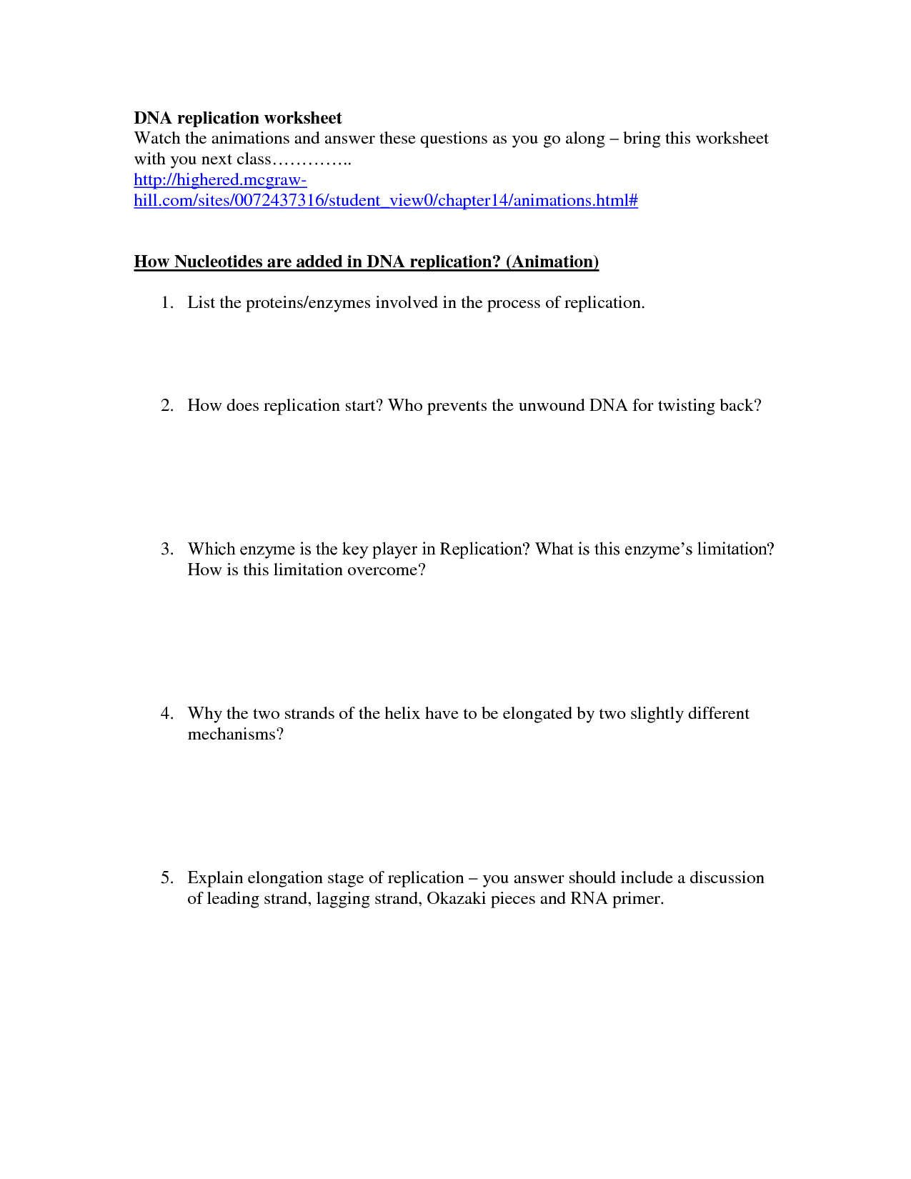 Structure Of Dna And Replication Worksheet Answers Unit 12