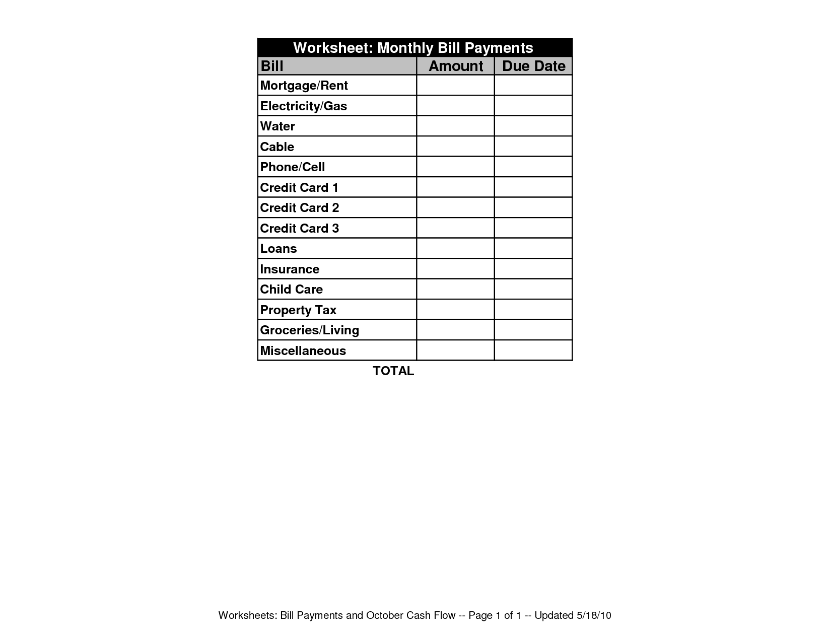 17 Best Images Of Printable Bill Worksheet