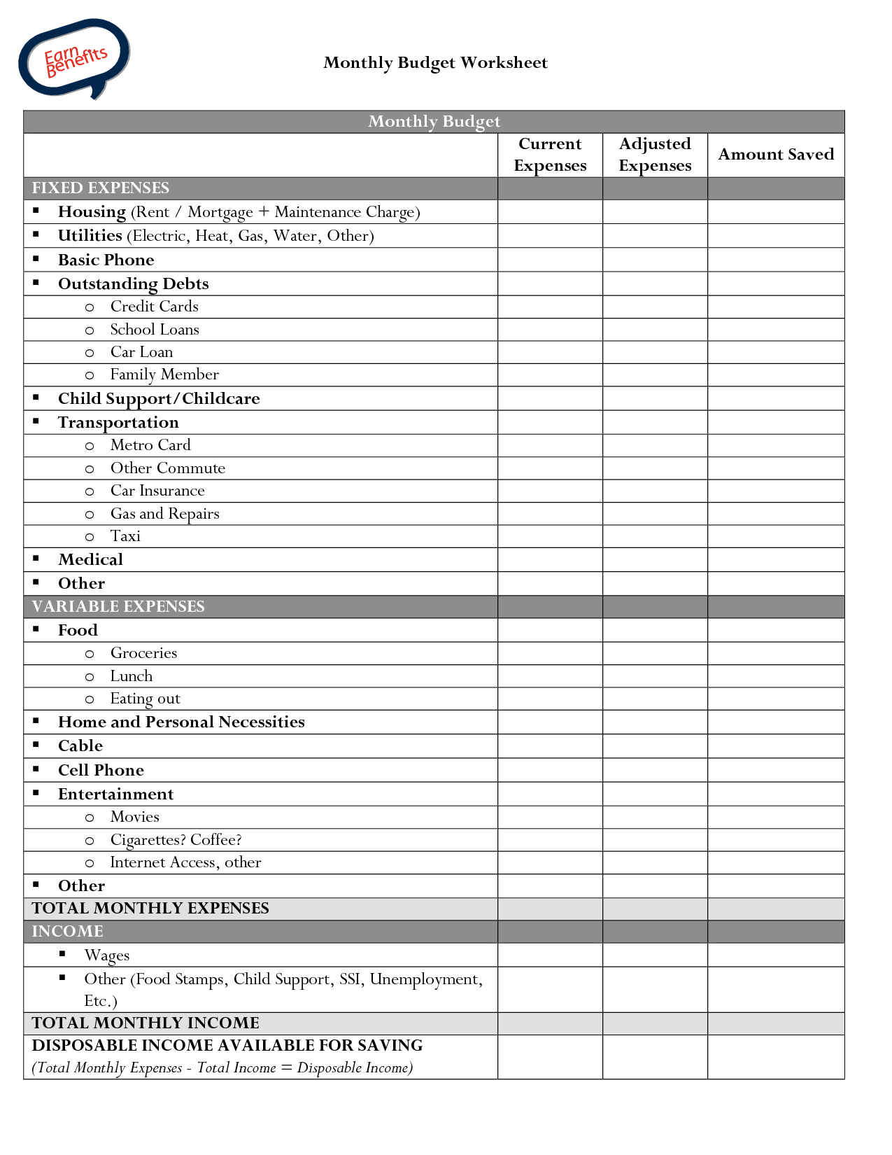 Blank Printable Small Business Monthly Budget Worksheet