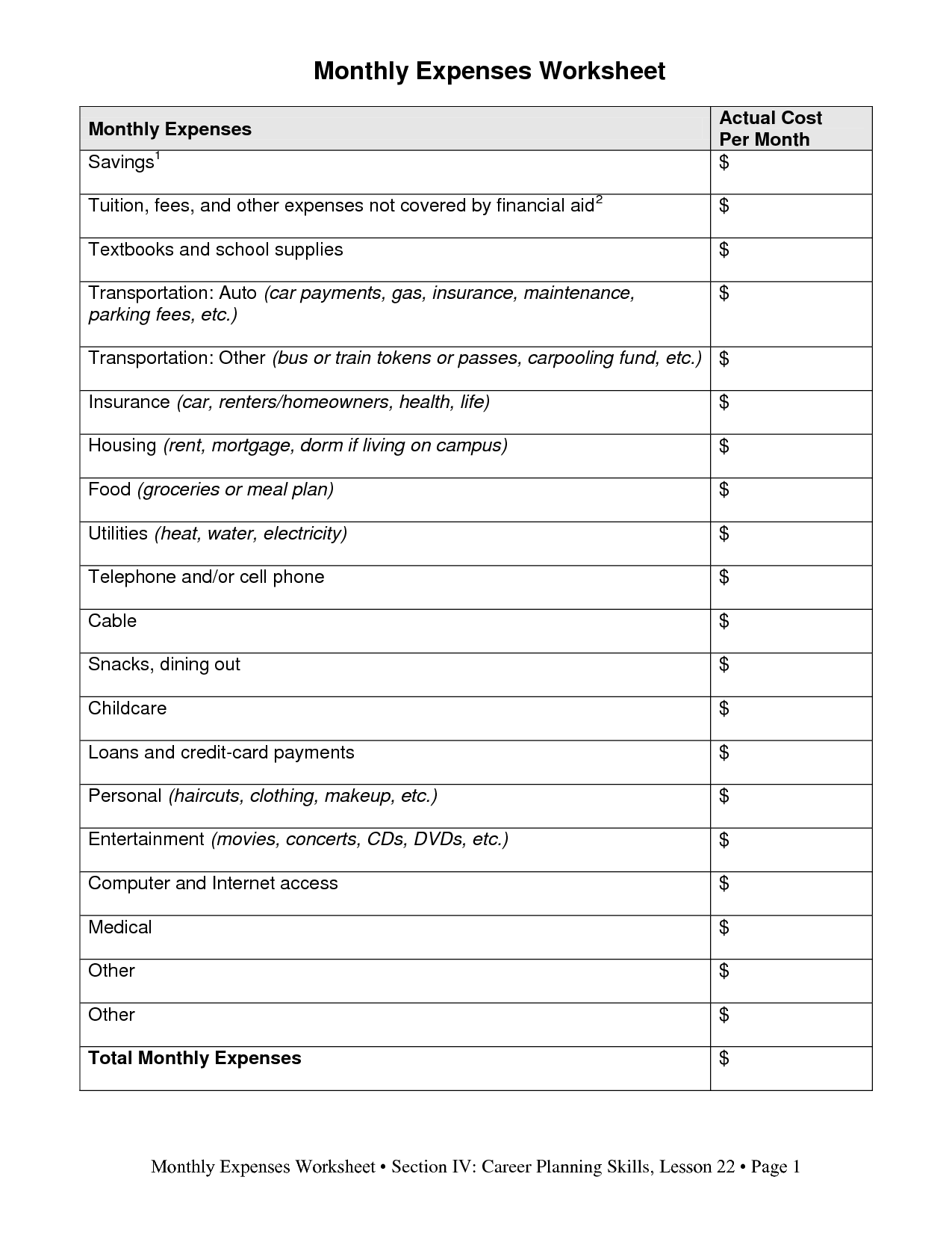 18 Best Images Of Printable Monthly Spending Worksheet