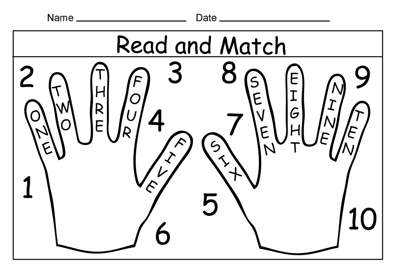 One Two Numbers Worksheet