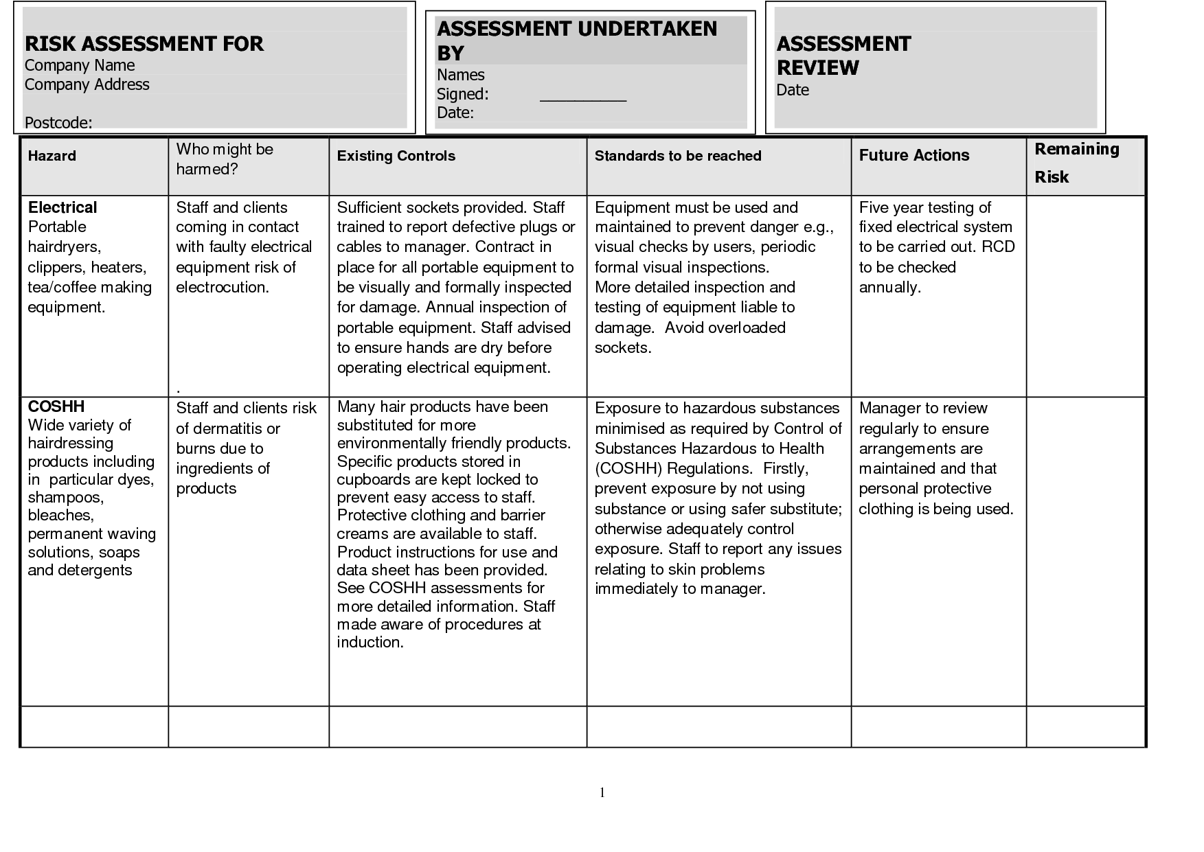 Operational Risk Assessment Worksheet Example Pictures To