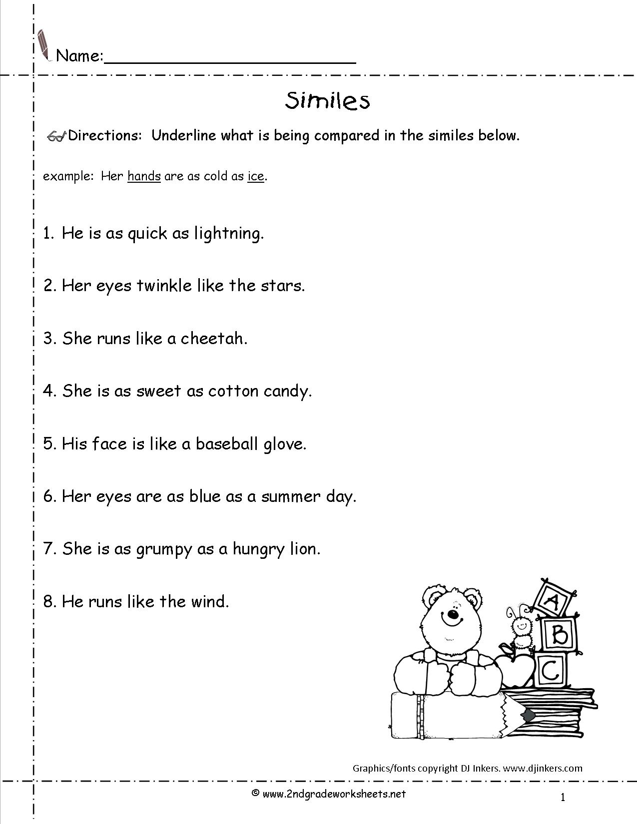13 Best Images Of Simile Worksheets For Teachers