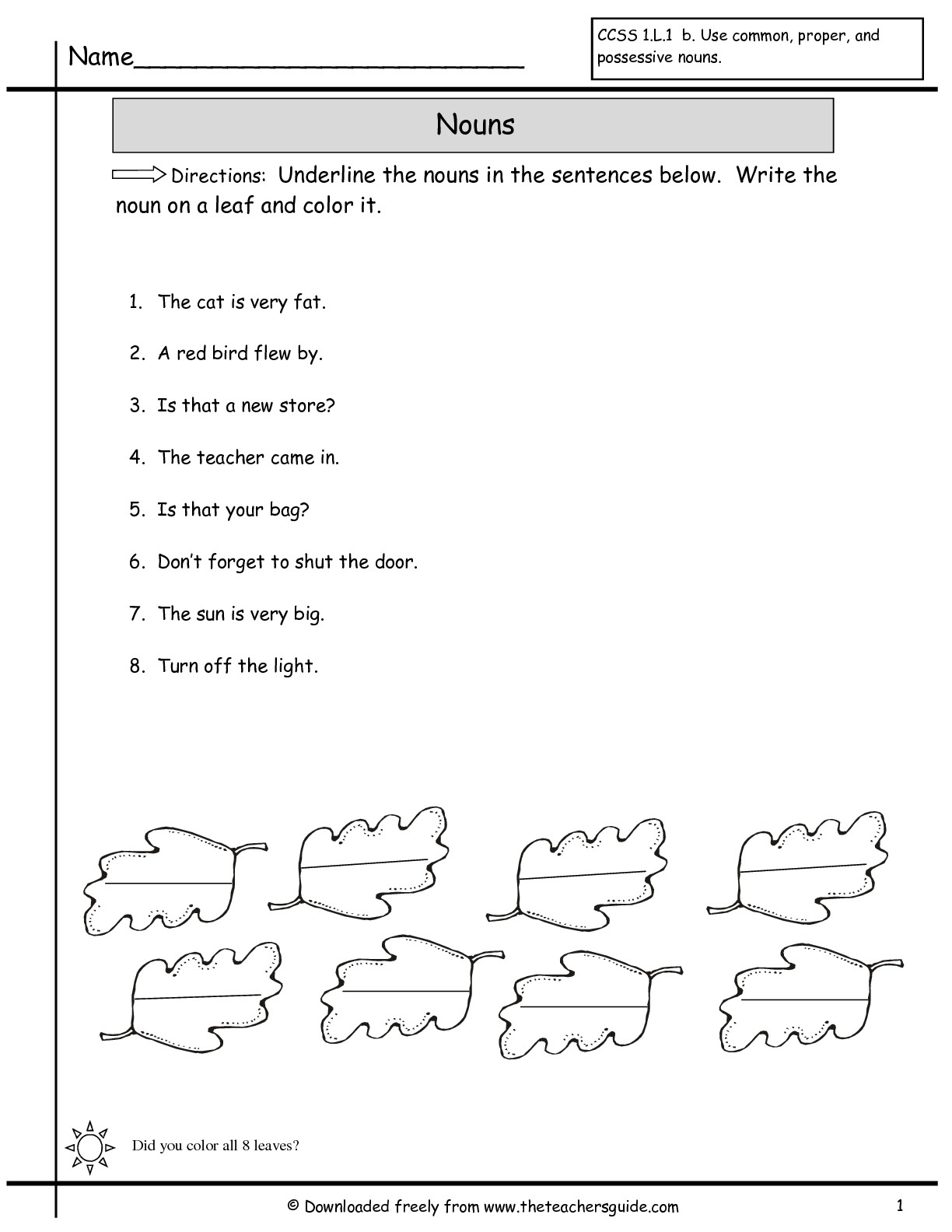 17 Best Images Of Printable Noun Worksheets Grade 1