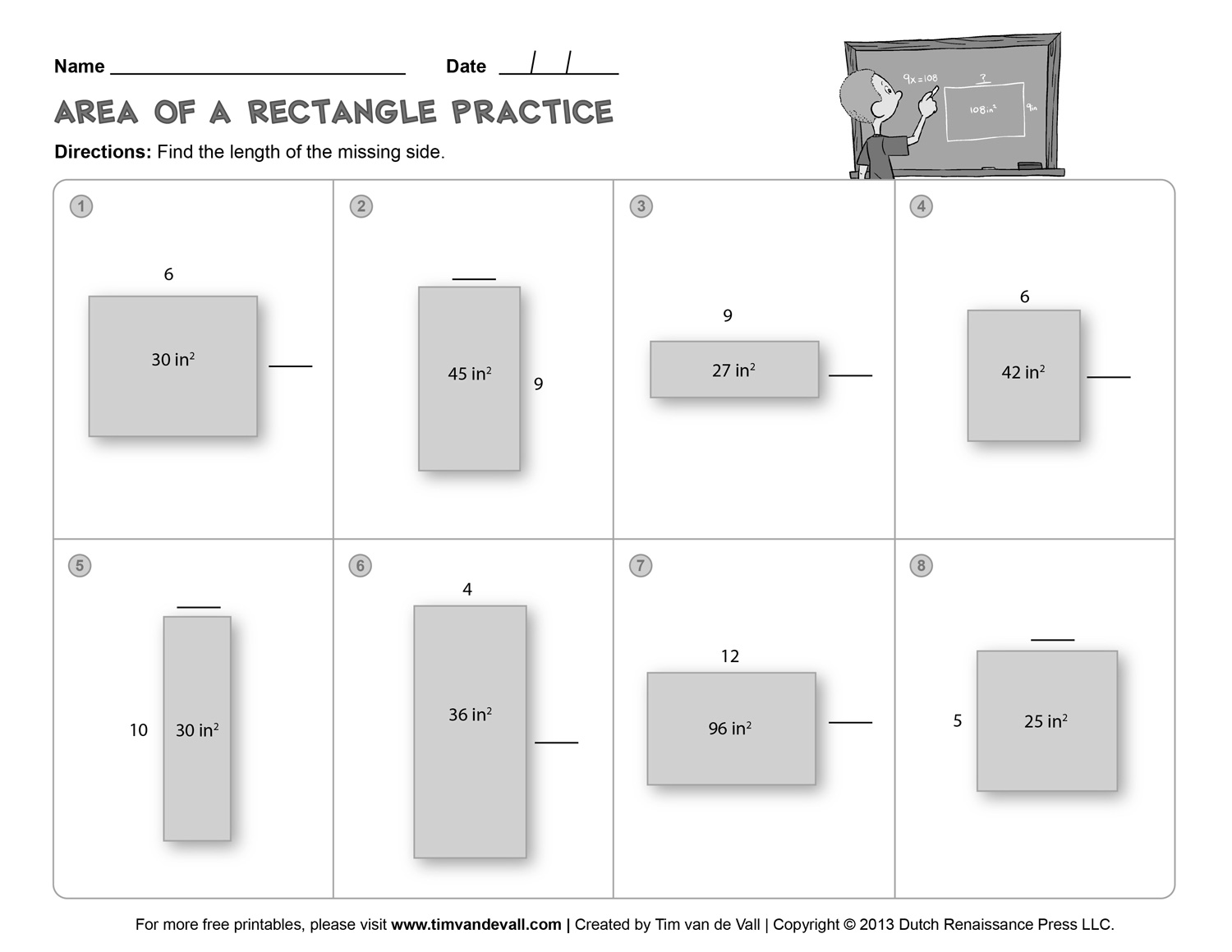 6 Best Images Of 4th Grade Area Of Rectangle Worksheet